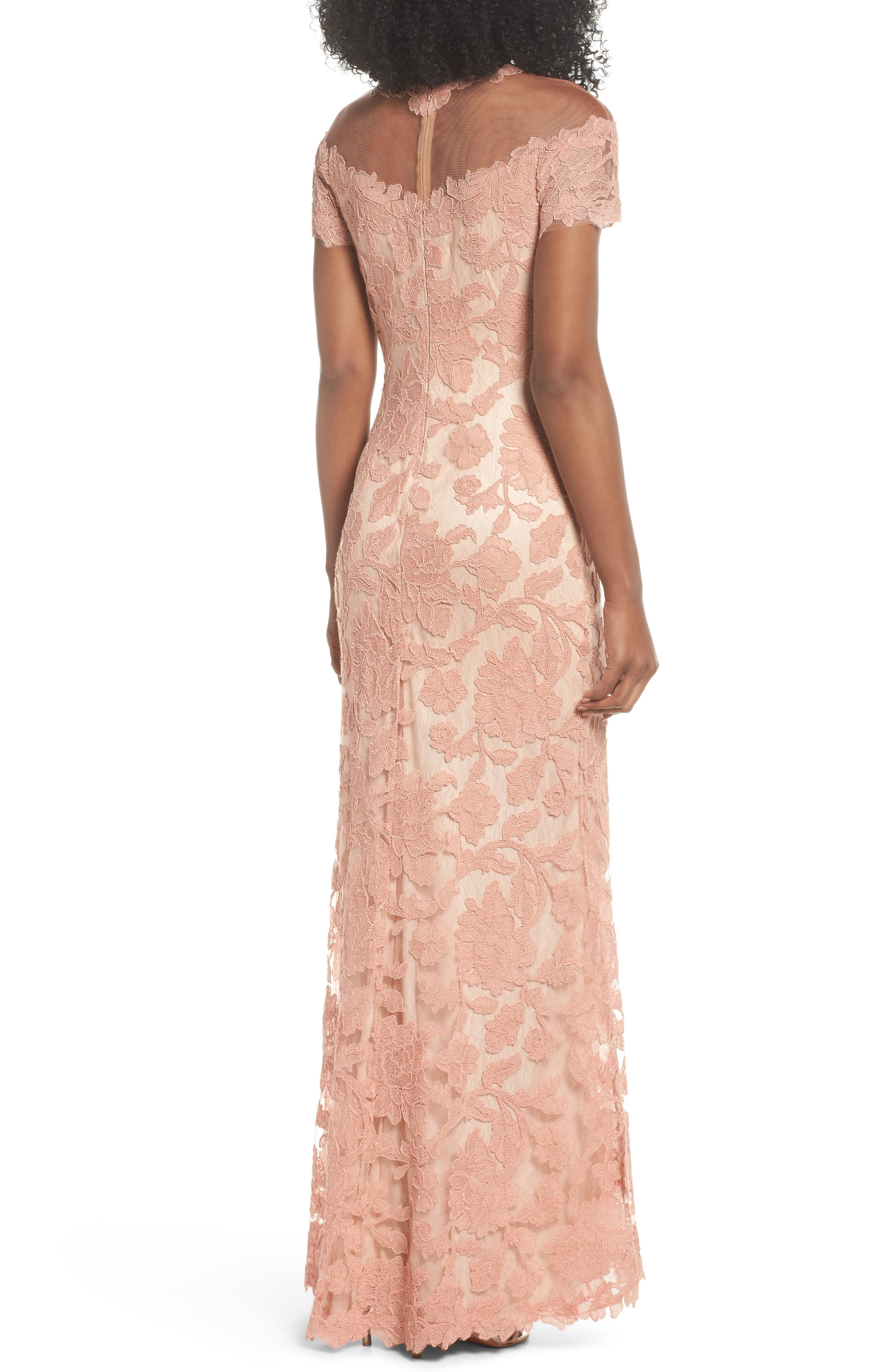 Illusion Yoke Embroidered Gown,                             Alternate thumbnail 2, color,                             Coral