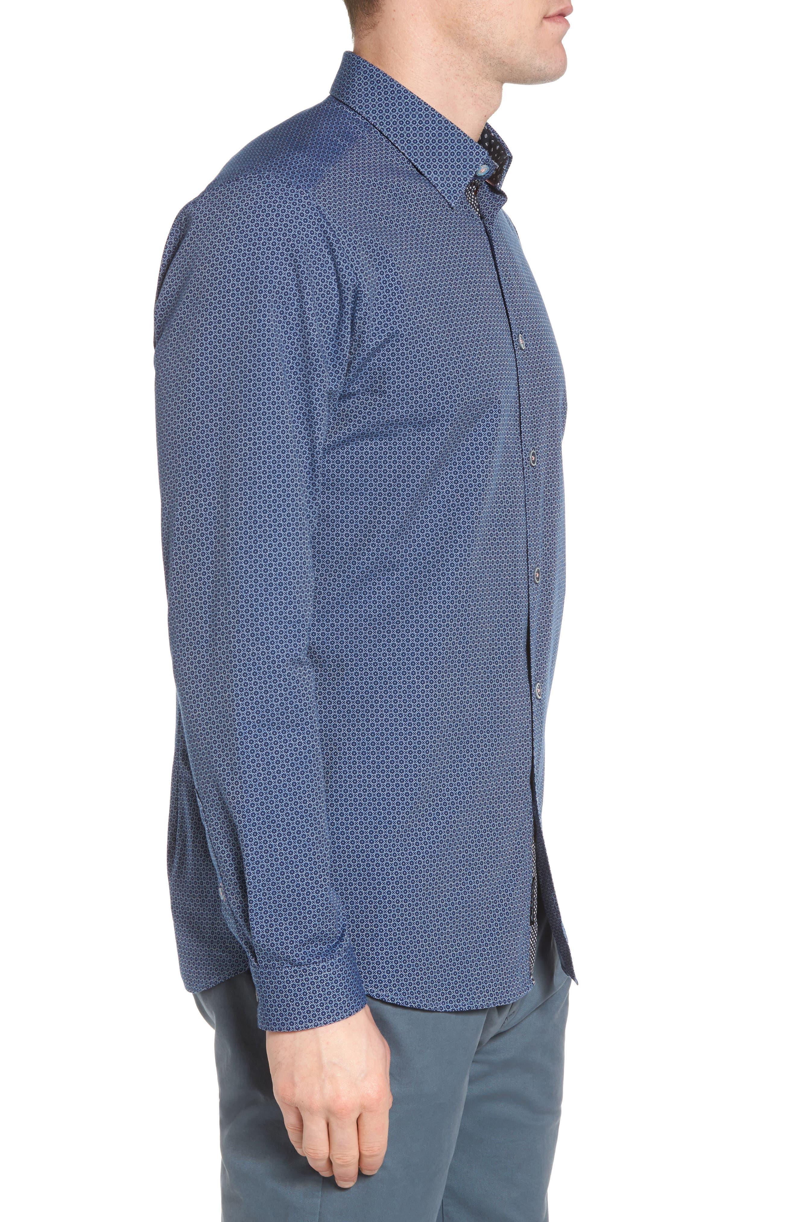 Holic Trim Fit Geometric Sport Shirt,                             Alternate thumbnail 4, color,                             Blue