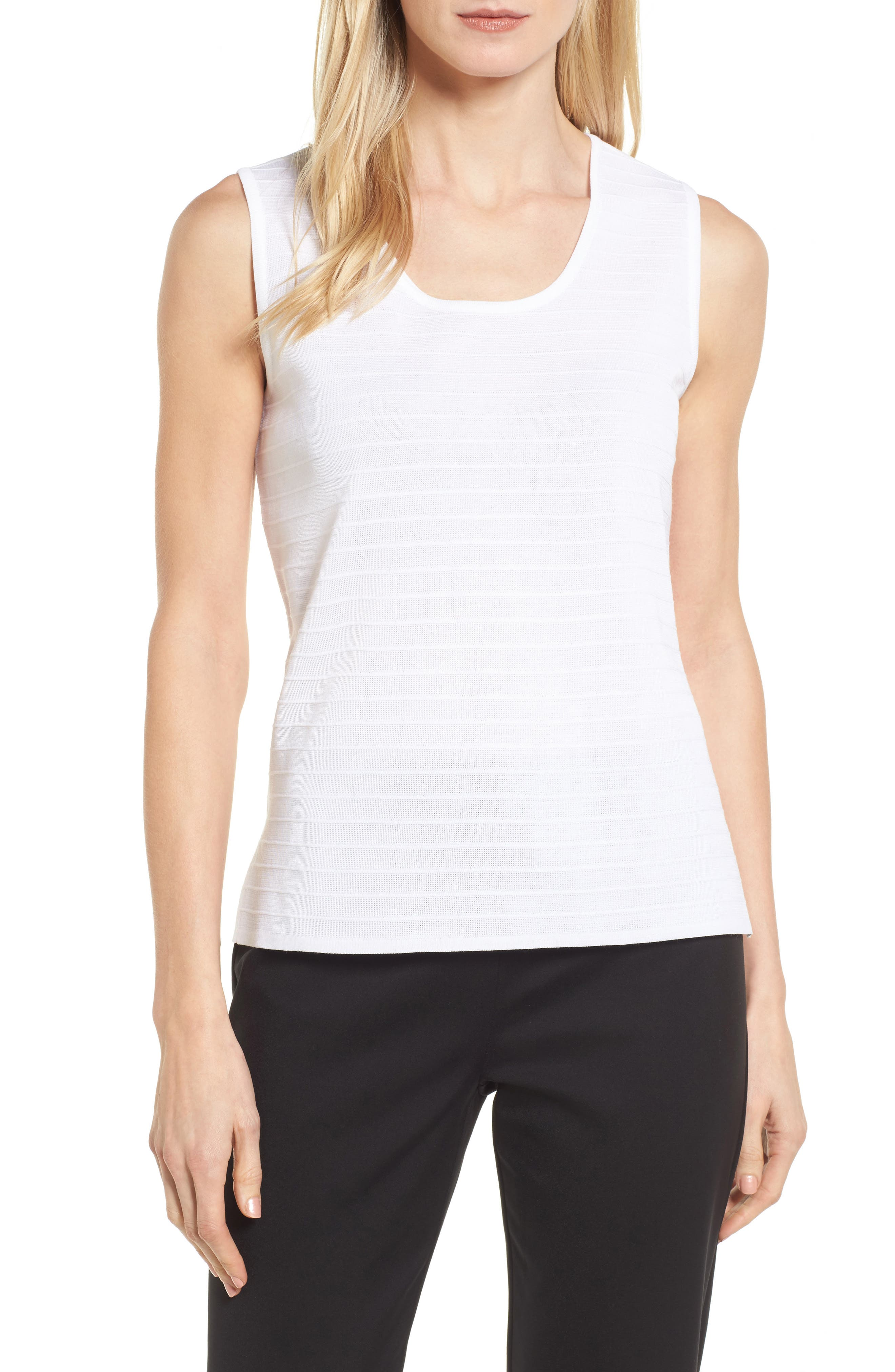 Textured Stripe Knit Tank,                         Main,                         color, White