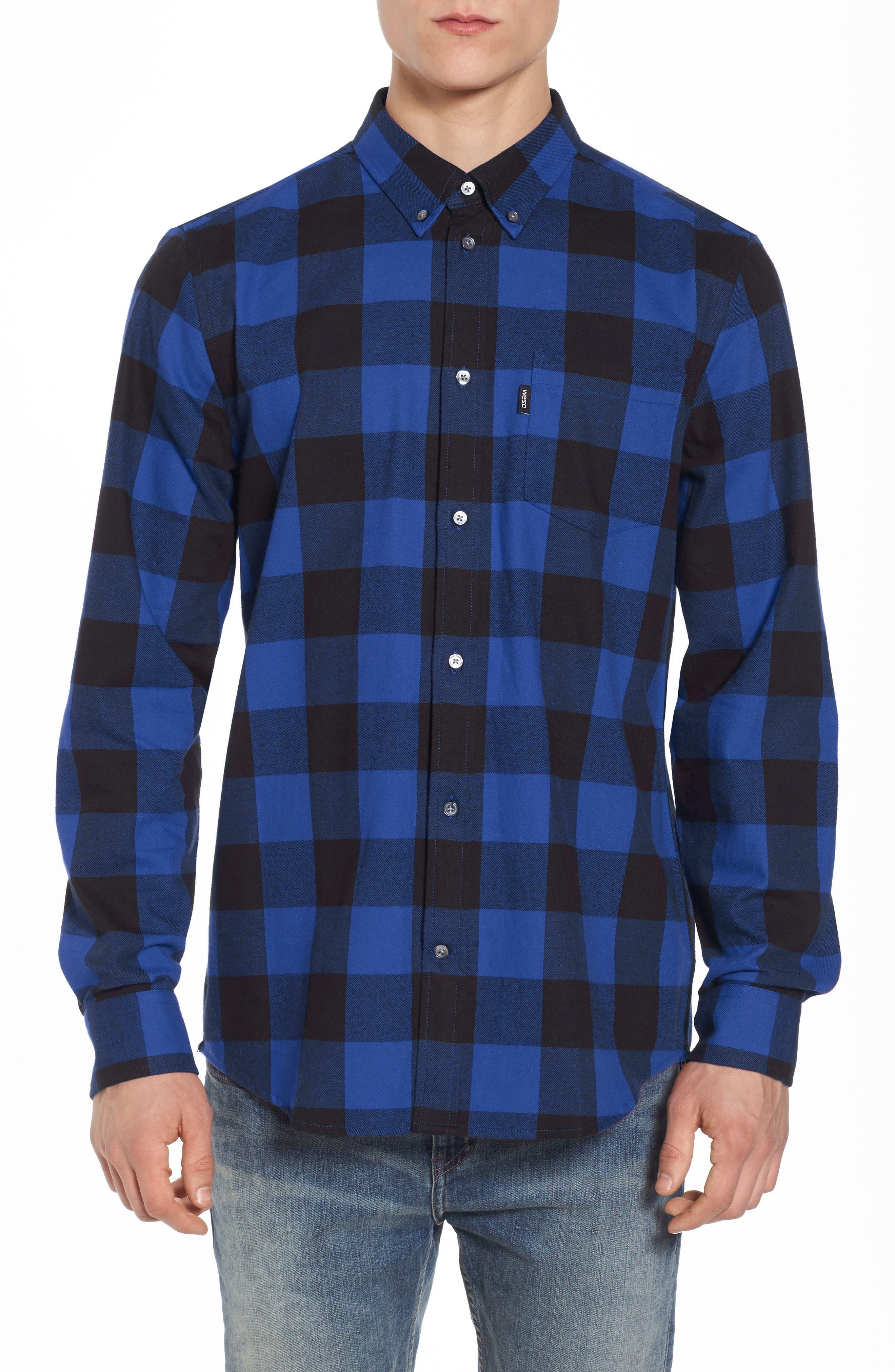 Olavi Check Flannel Shirt,                         Main,                         color, Navy Blazer