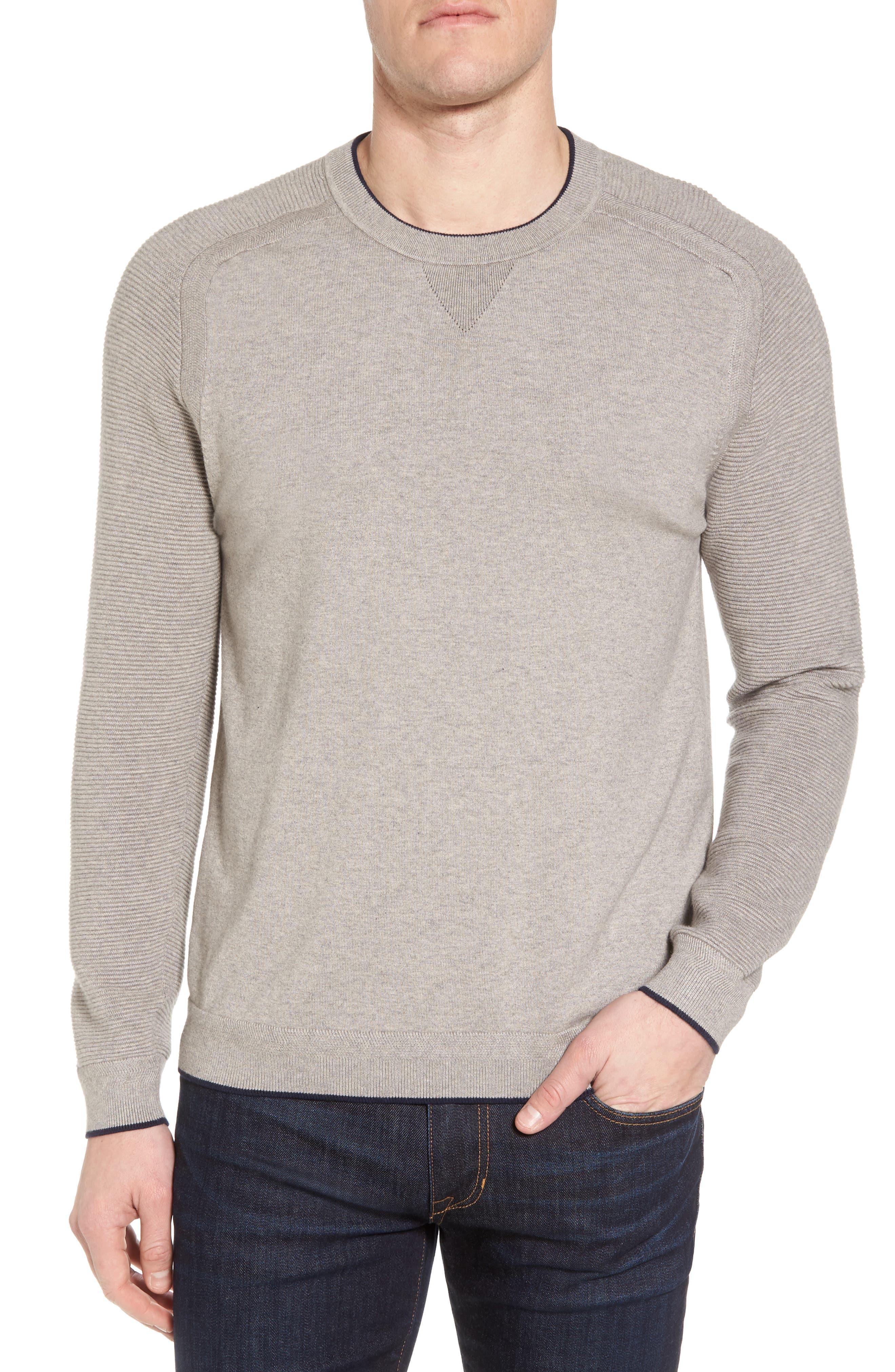 Kayfed Rib Sleeve Sweater,                             Main thumbnail 1, color,                             Grey Marl