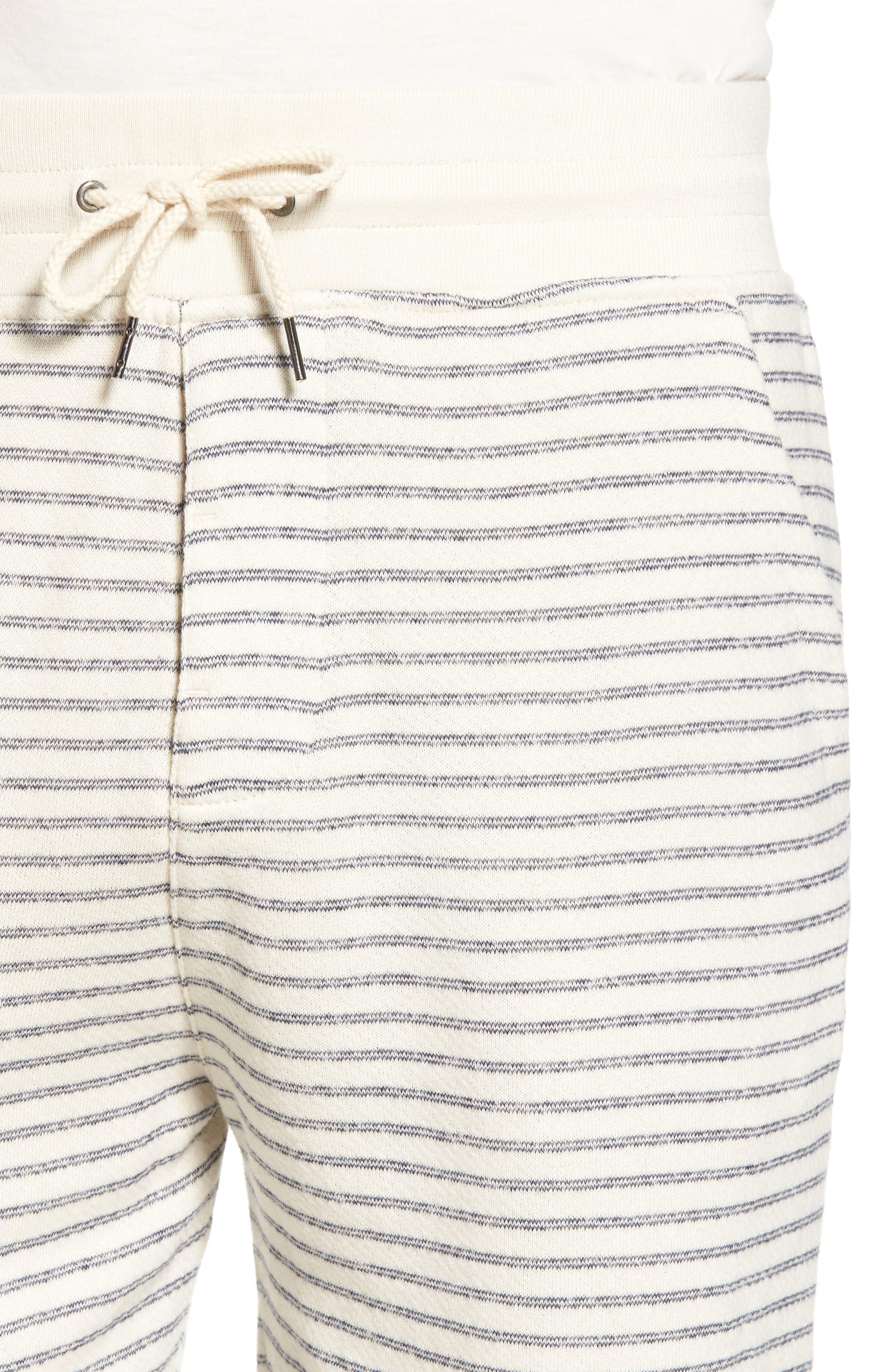 Dalton Stripe Drawcord Terry Shorts,                             Alternate thumbnail 4, color,                             White/ Navy Stripe