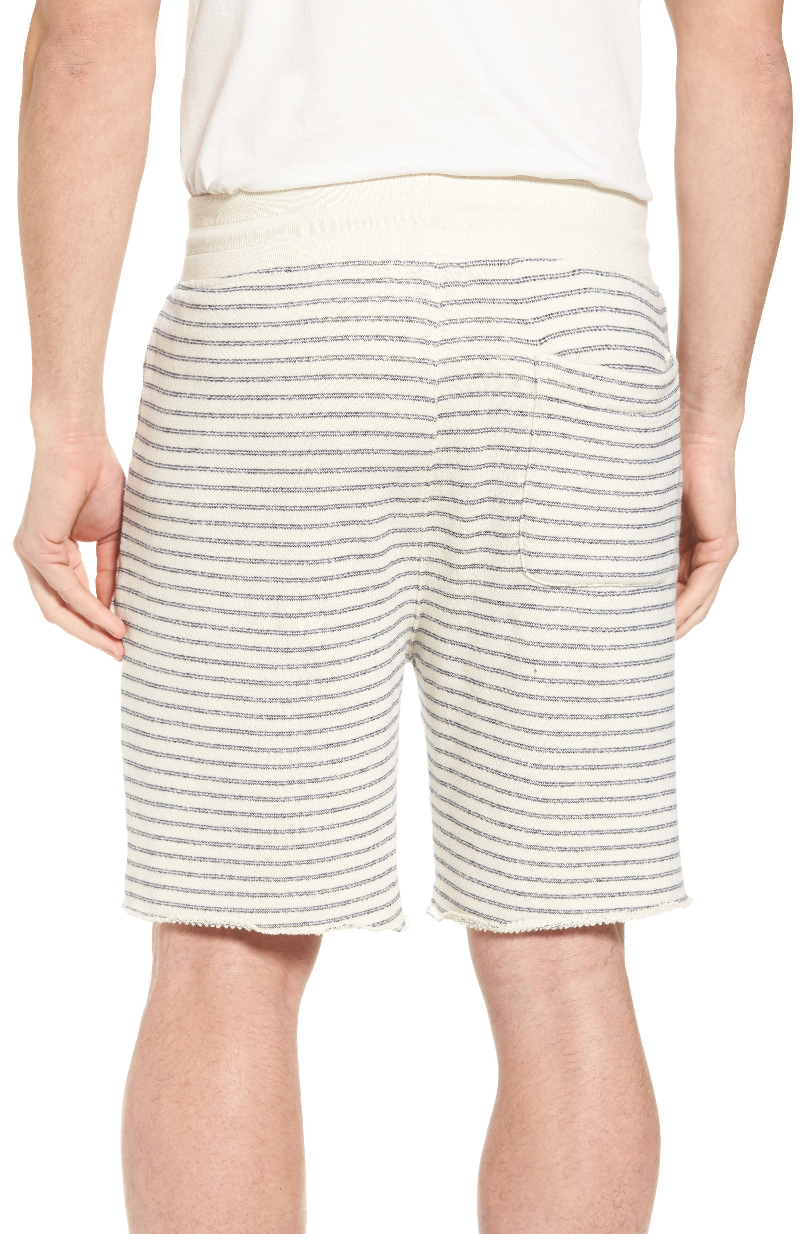 Dalton Stripe Drawcord Terry Shorts,                             Alternate thumbnail 2, color,                             White/ Navy Stripe