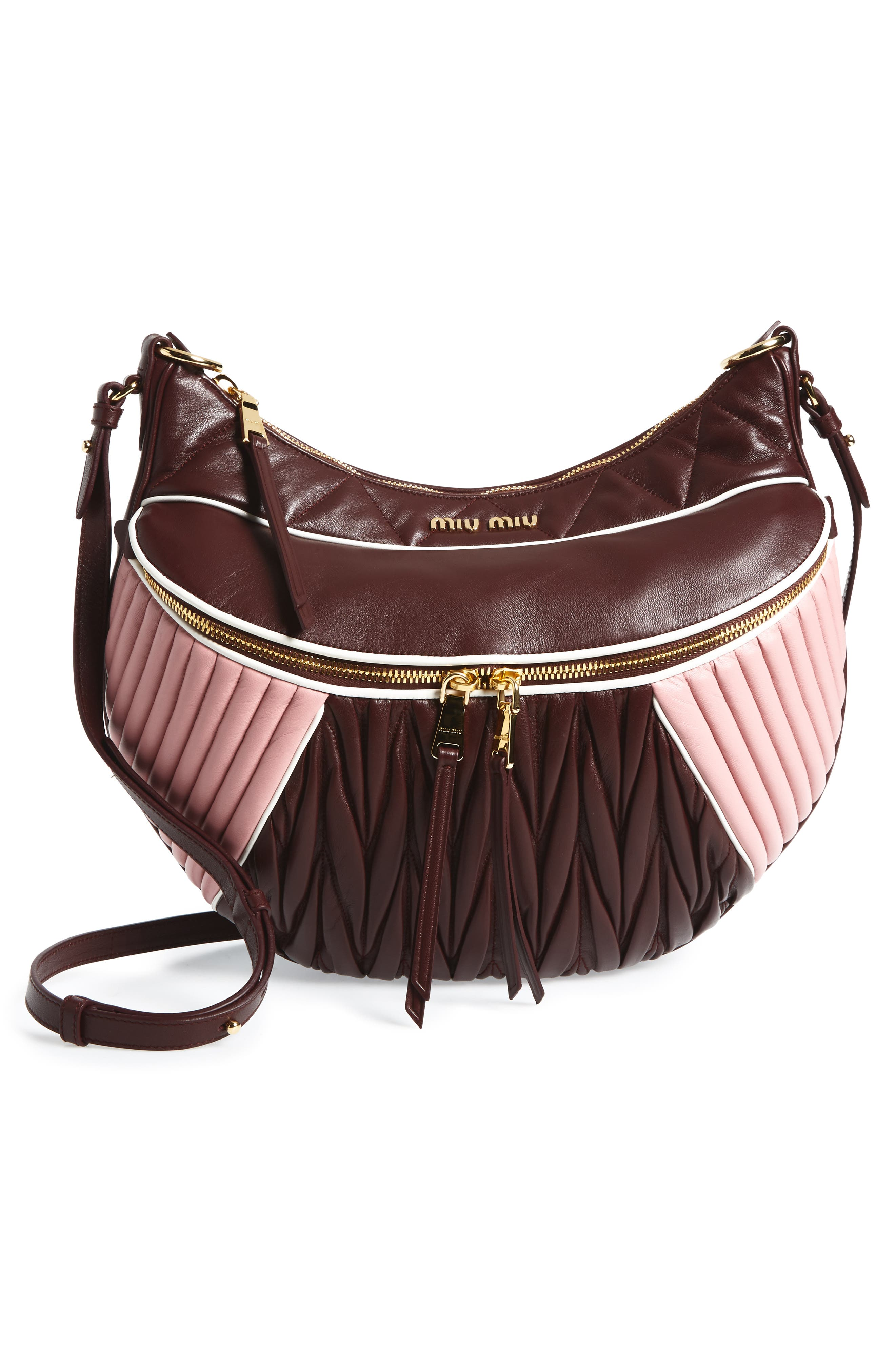 Large Rider Matelassé Leather Shoulder Bag,                             Alternate thumbnail 3, color,                             Granato/ Rosa