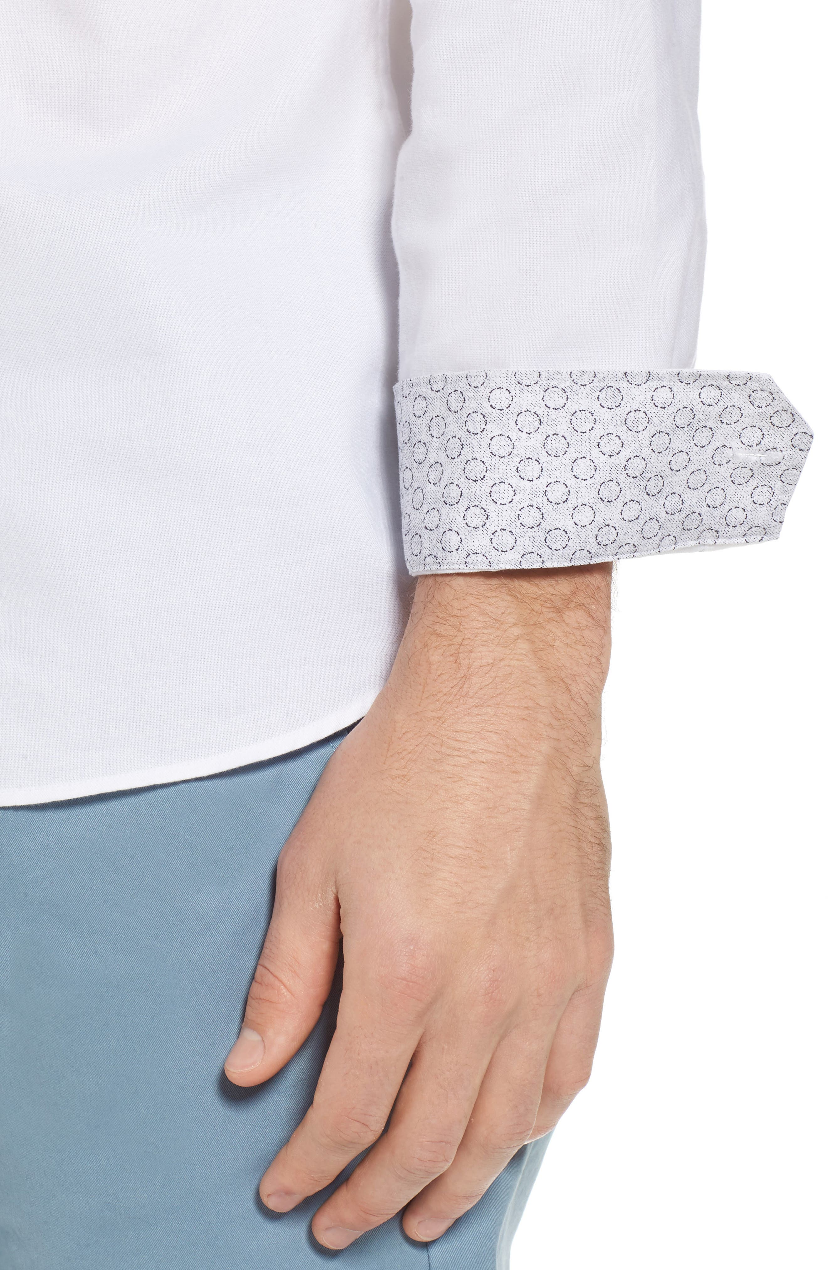 Slim Fit Textured Sport Shirt,                             Alternate thumbnail 2, color,                             White