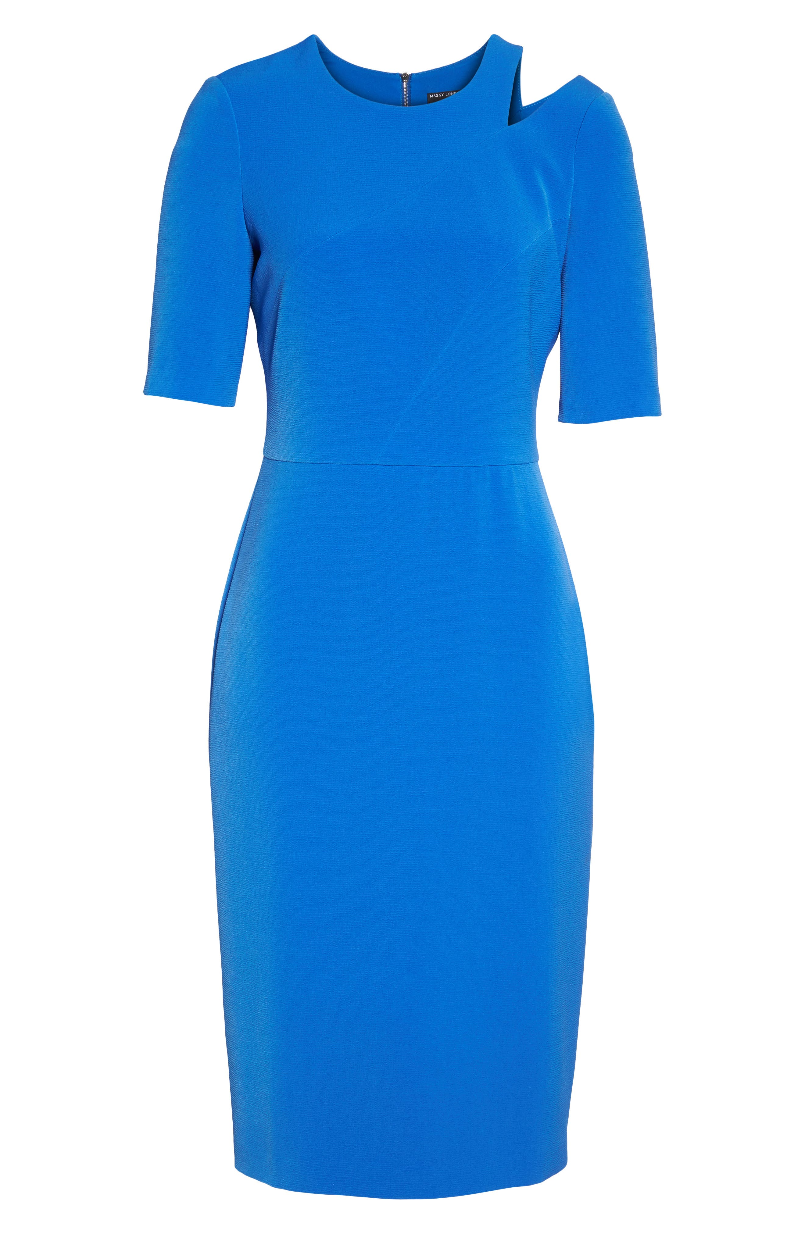 Textured Split Shoulder Sheath Dress,                             Alternate thumbnail 6, color,                             Lapis