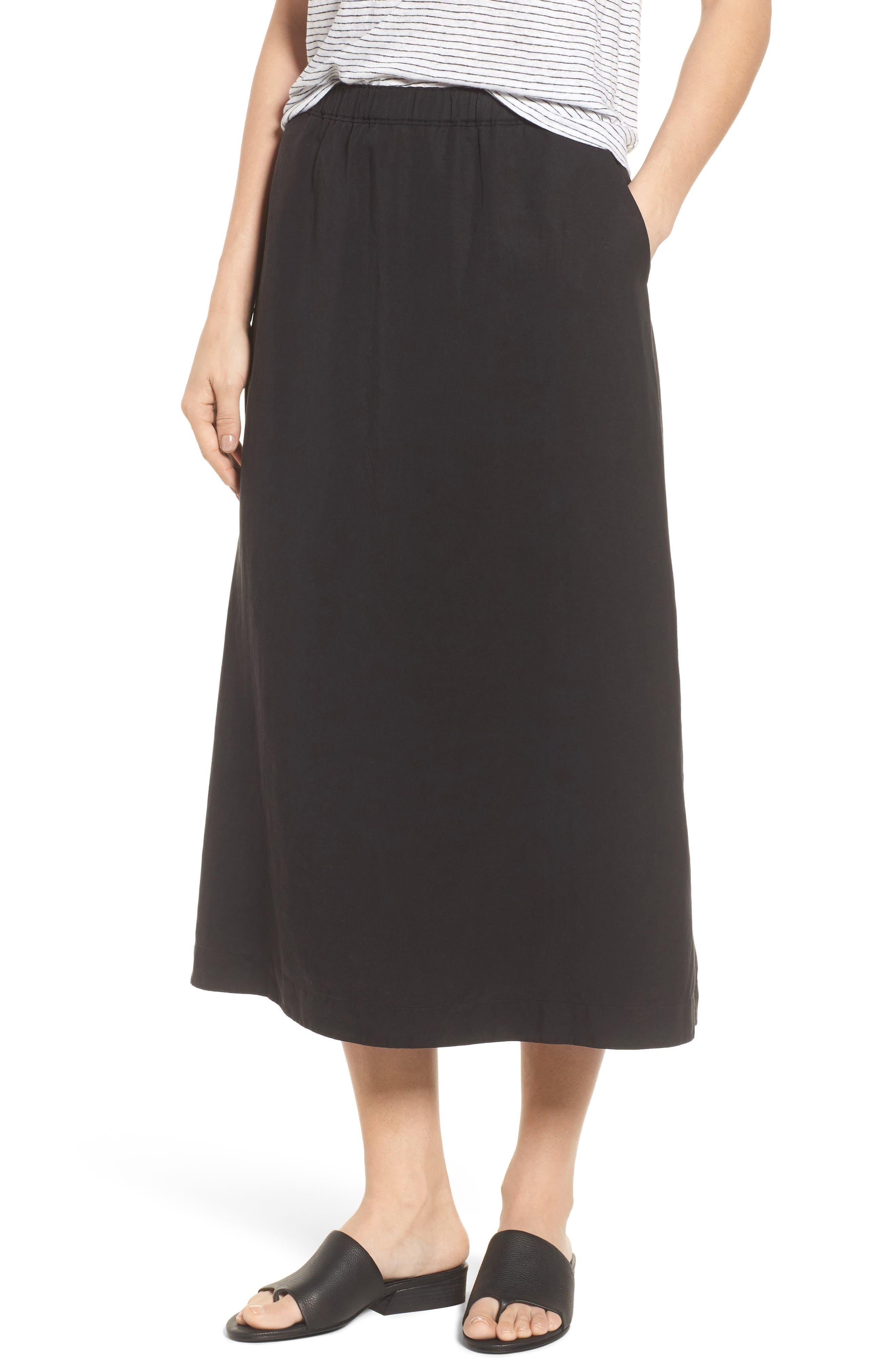 Tencel<sup>®</sup> Lyocell & Linen Midi Skirt,                             Main thumbnail 1, color,                             Black