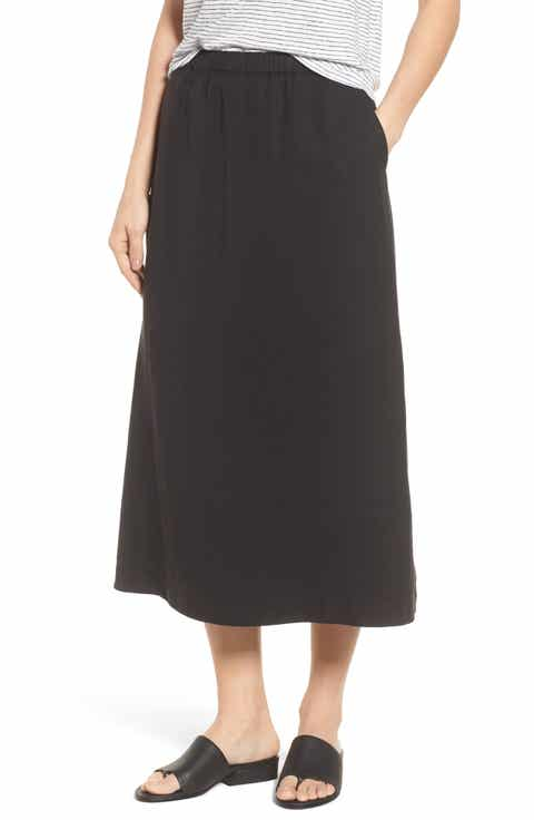 Eileen Fisher Tencel® & Linen Midi Skirt (Regular & Petite)