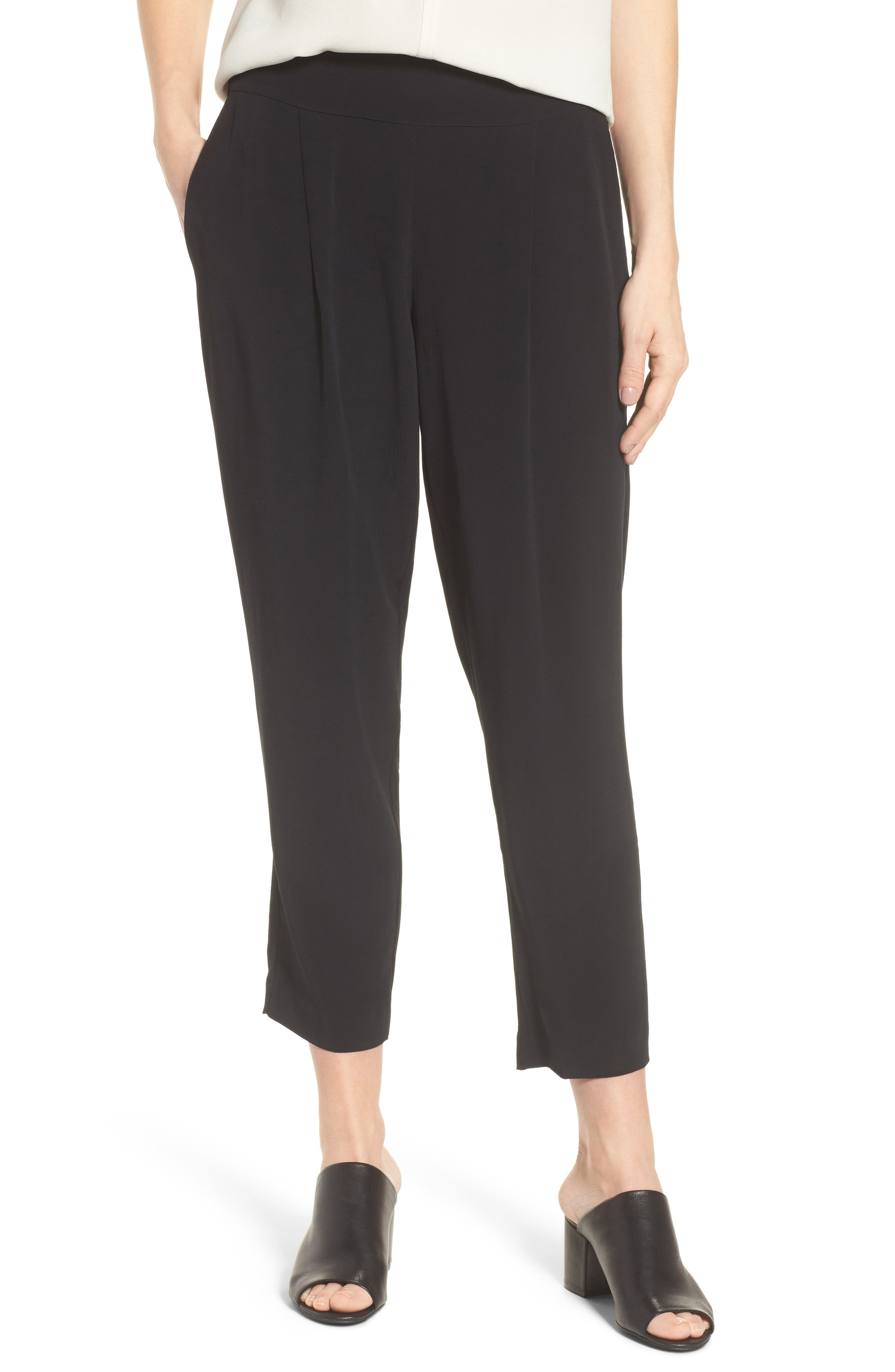 Slouchy Tencel<sup>®</sup> Lyocell Blend Crop Pants,                             Main thumbnail 1, color,                             Black