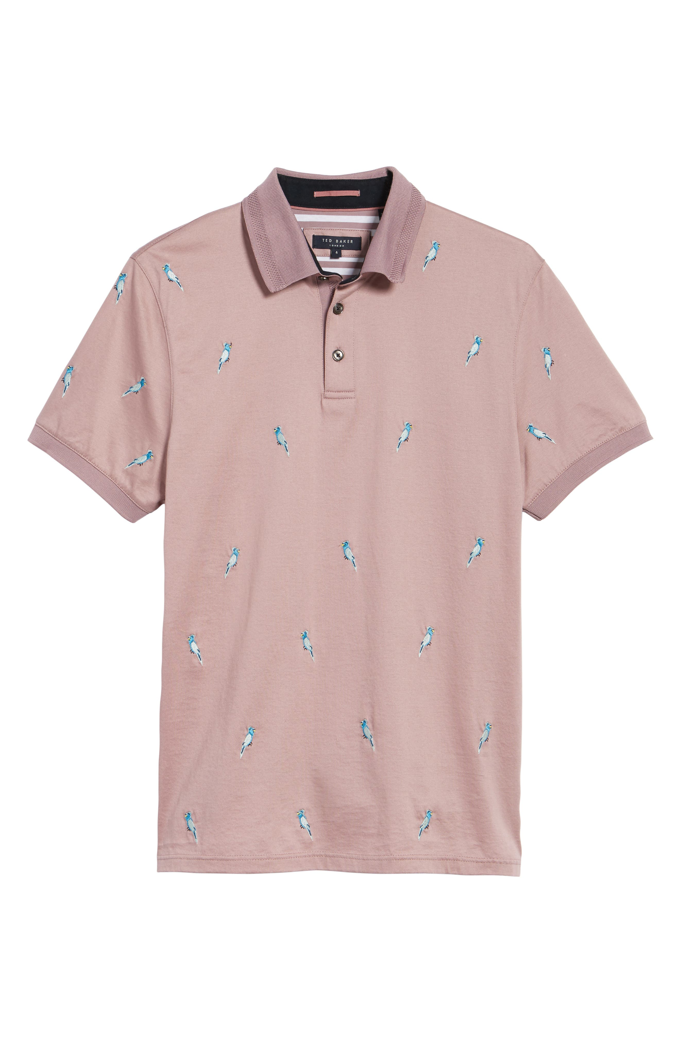 Scraffy Trim Fit Cockatoo Embroidered Polo,                             Alternate thumbnail 6, color,                             Dusky Pink