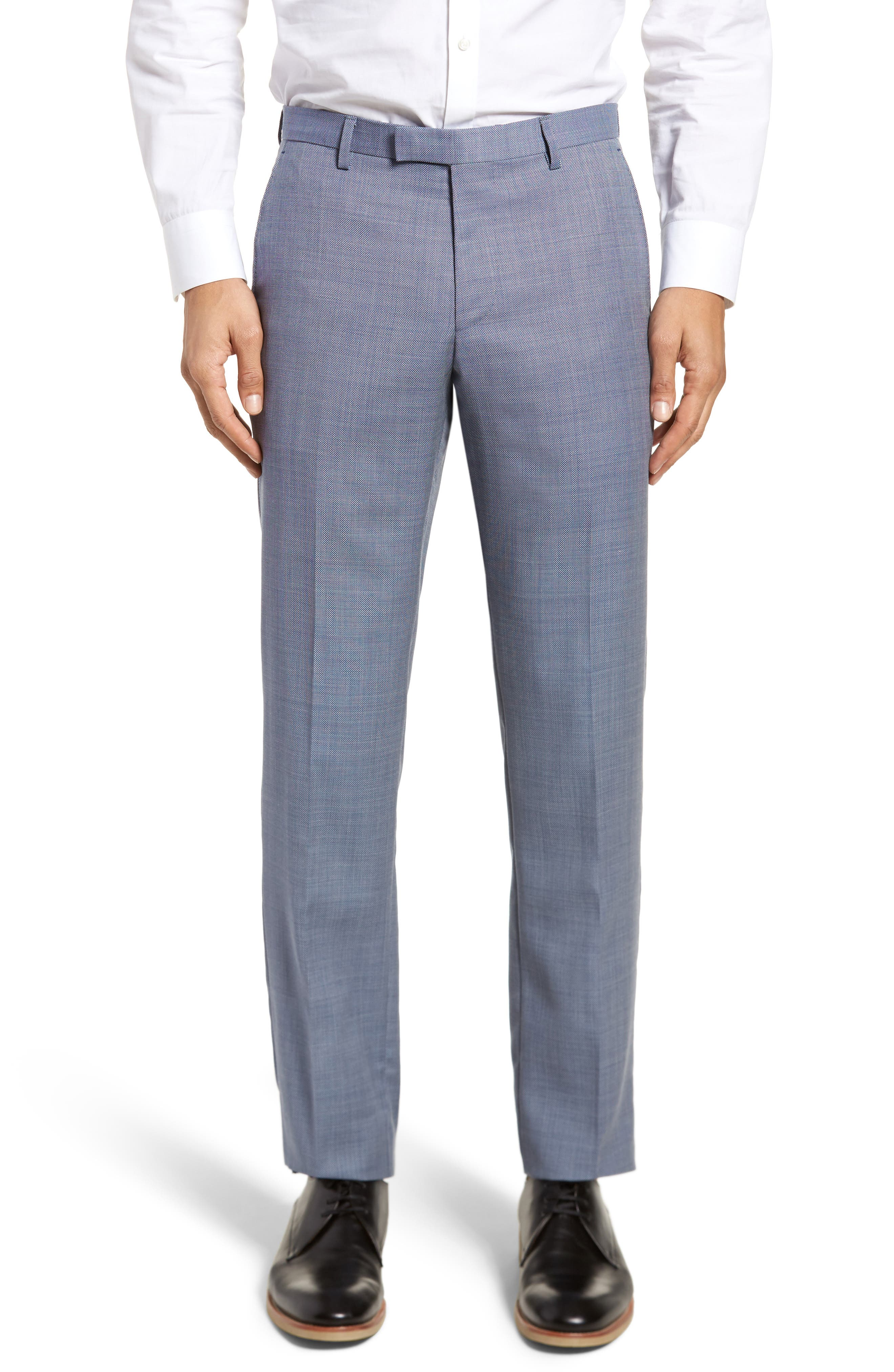 Leenon Flat Front Regular Fit Solid Wool Trousers,                             Main thumbnail 1, color,                             Light/ Pastel Blue