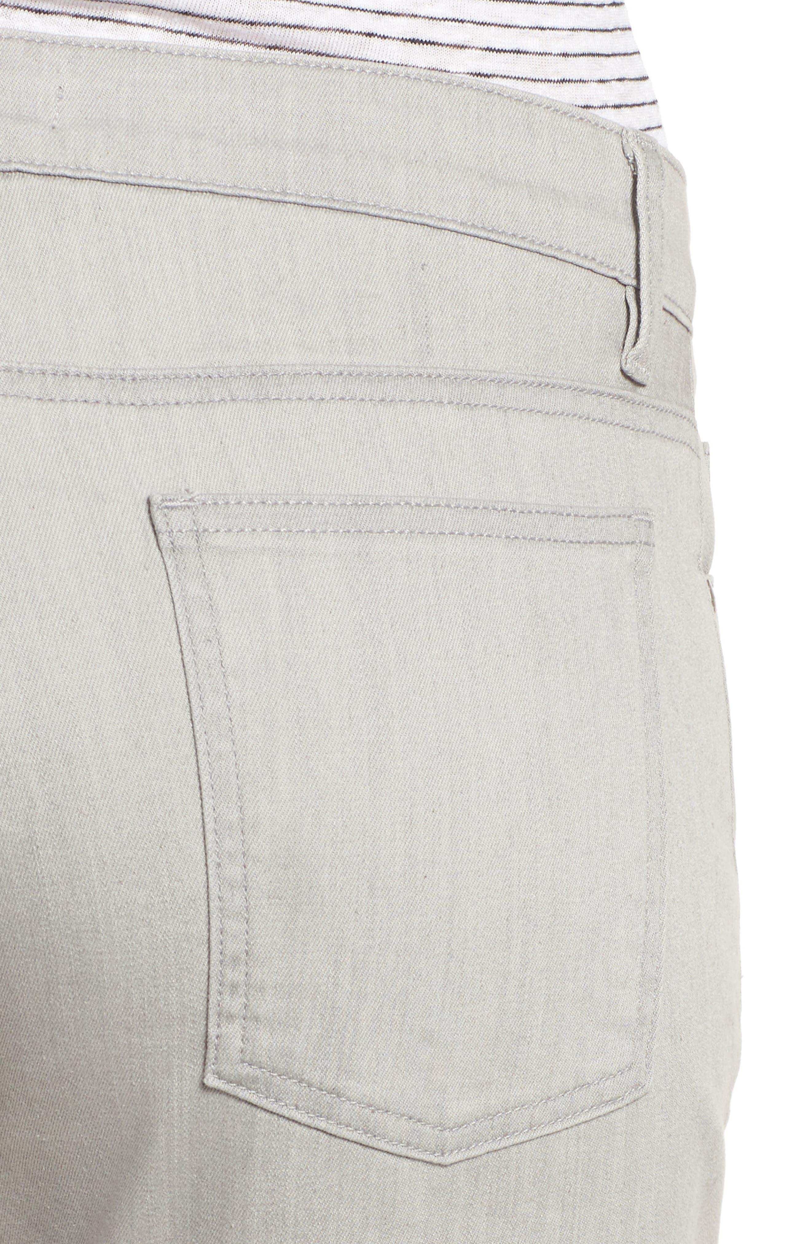 Organic Cotton Blend Crop Flare Jeans,                             Alternate thumbnail 4, color,                             Sun Bleached Gray