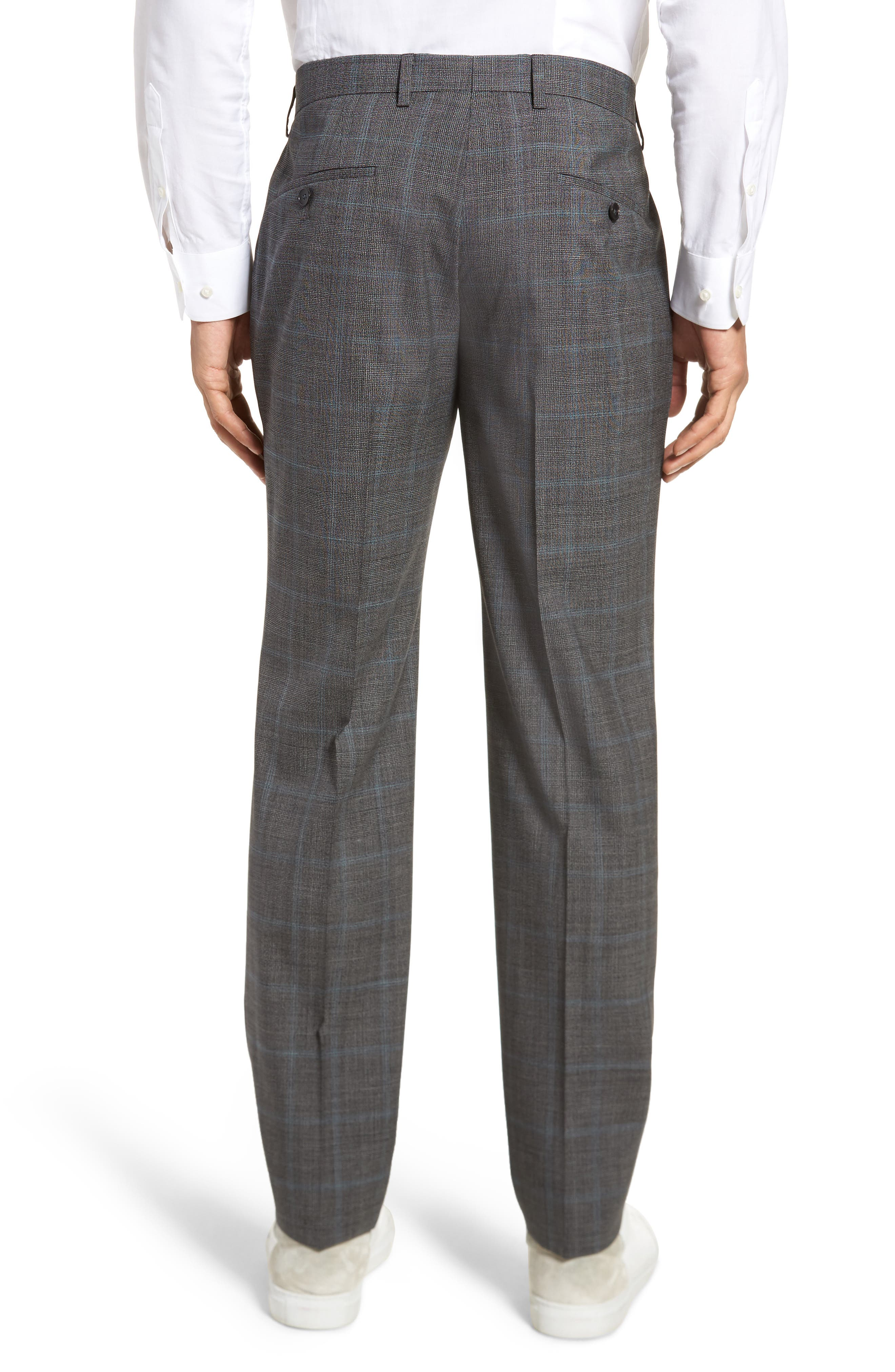 Genesis Flat Front Plaid Wool Trousers,                             Alternate thumbnail 2, color,                             Open Grey