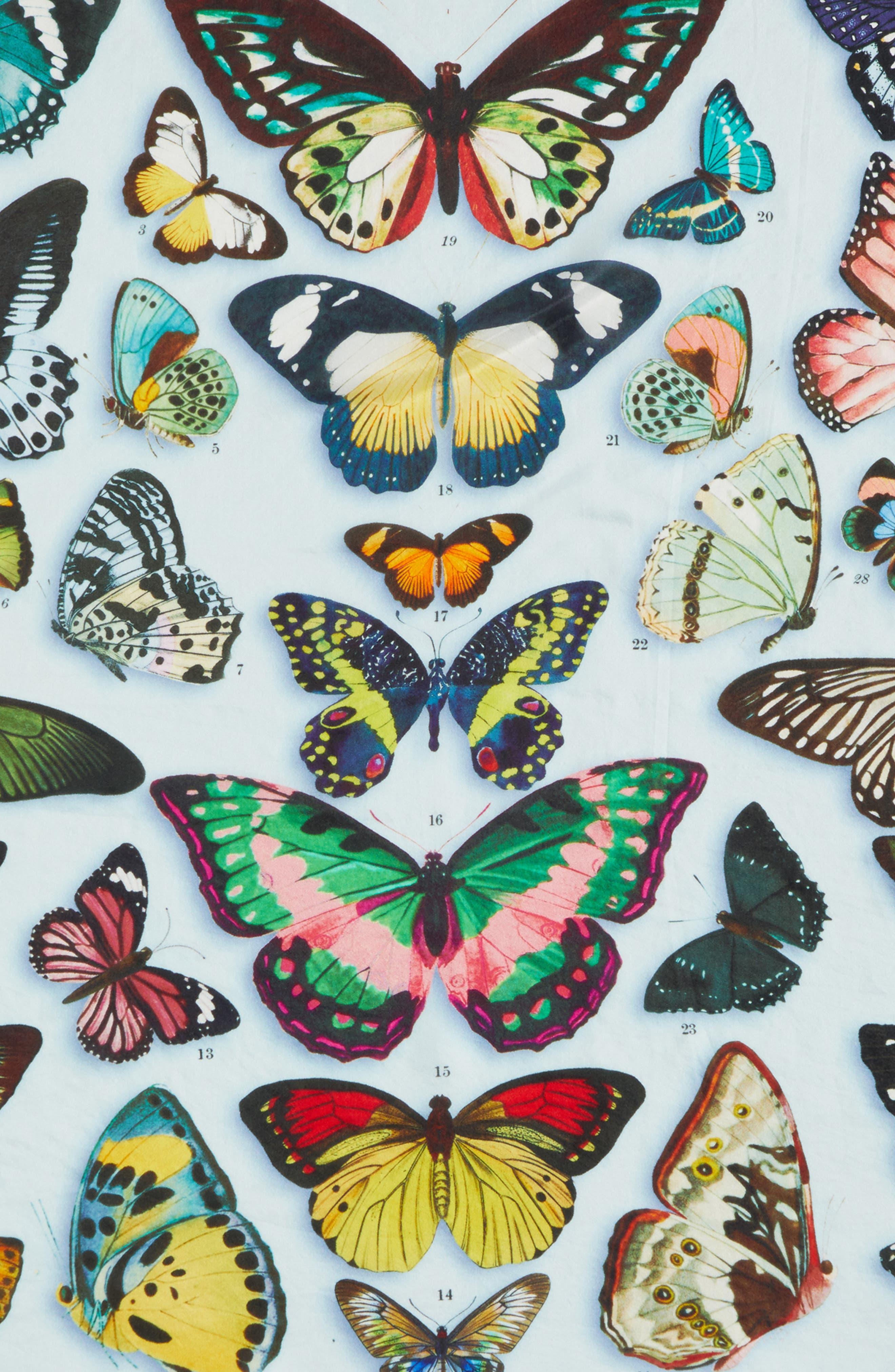 Print Silk Scarf,                             Alternate thumbnail 5, color,                             Blue Butterfly Beauty Print