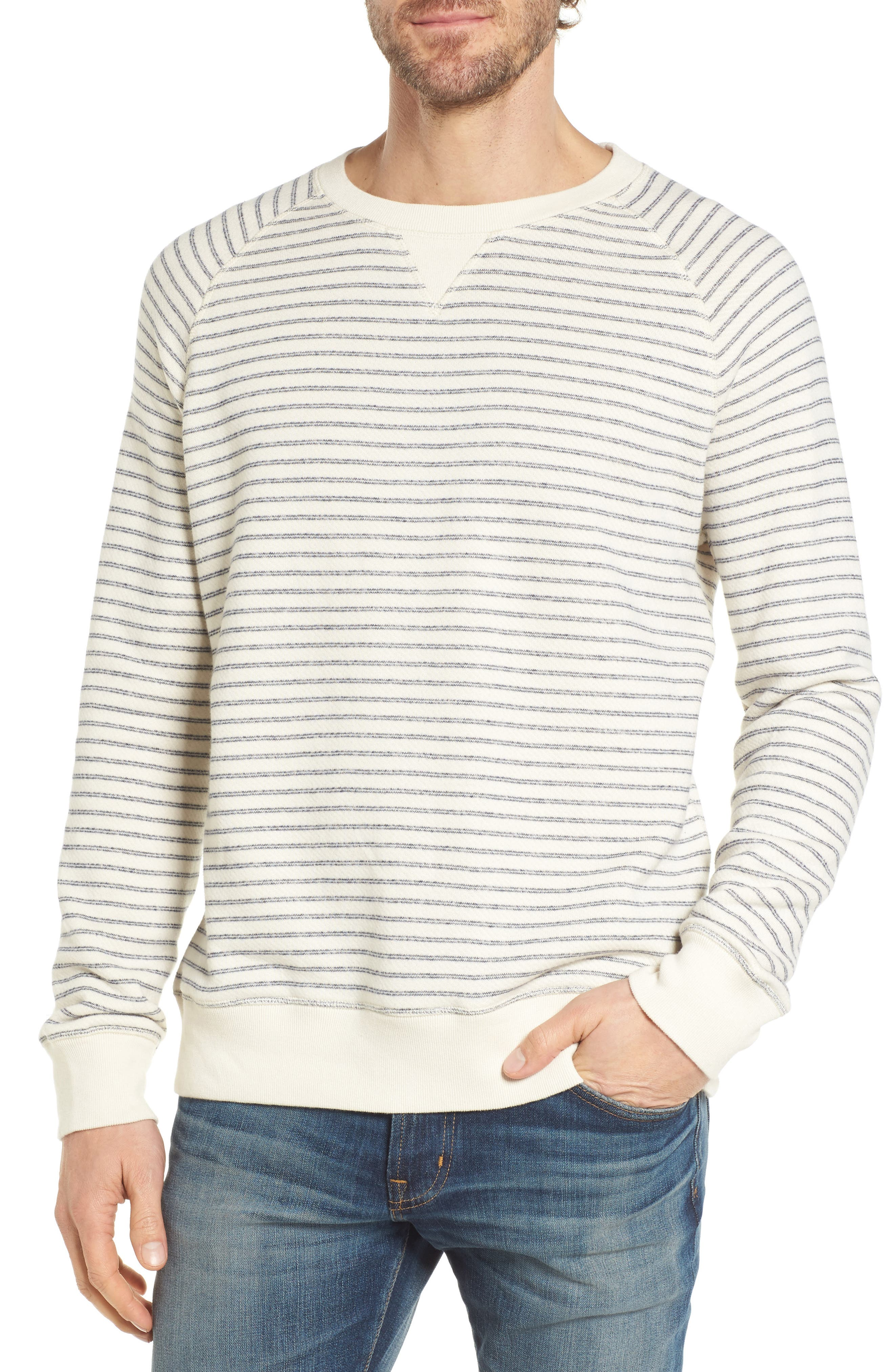 Dalton Stripe Terry Sweatshirt,                         Main,                         color, White/ Navy Stripe