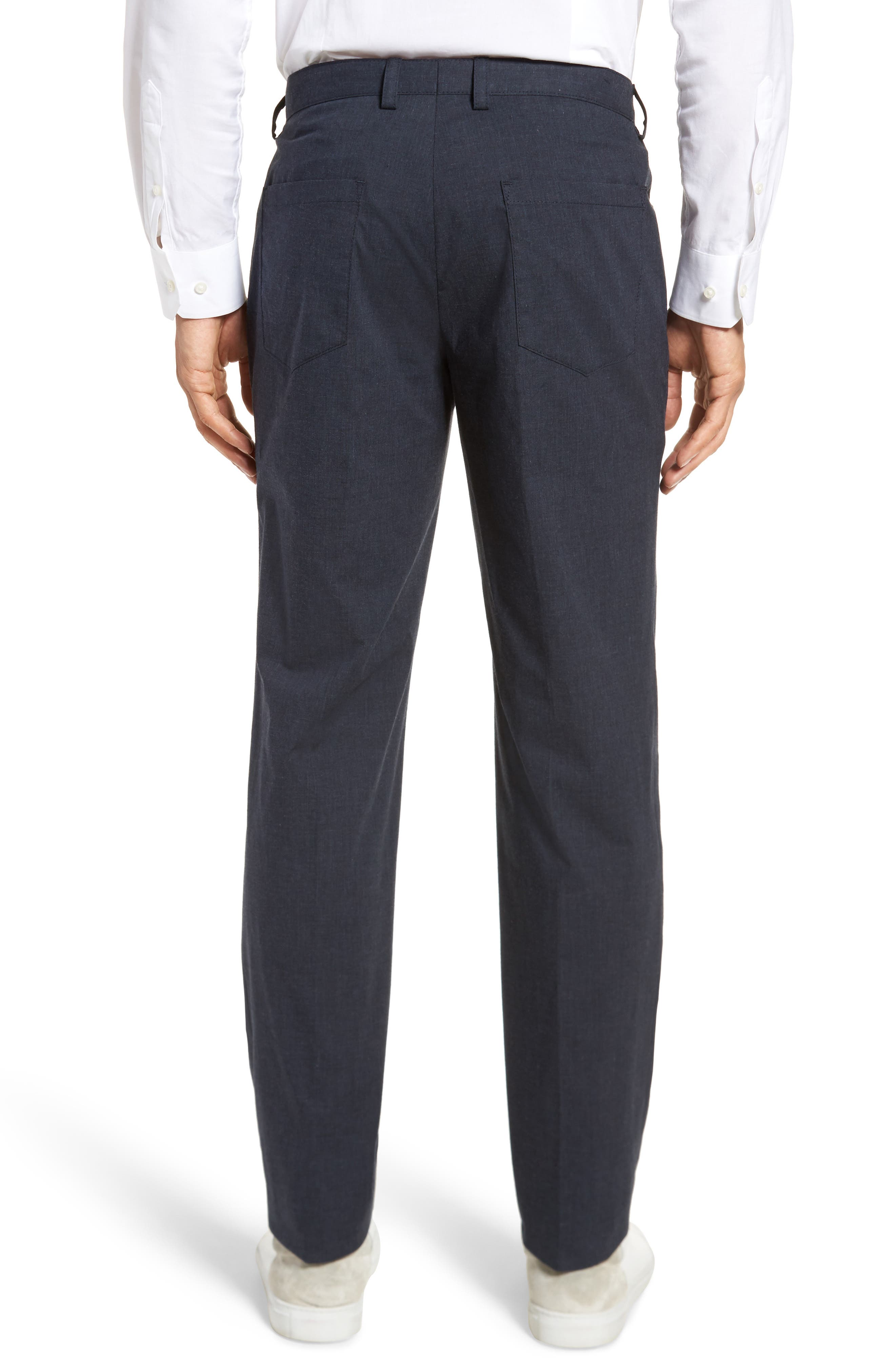 Gaetano Flat Front Stretch Solid Cotton Trousers,                             Alternate thumbnail 2, color,                             Dark Grey