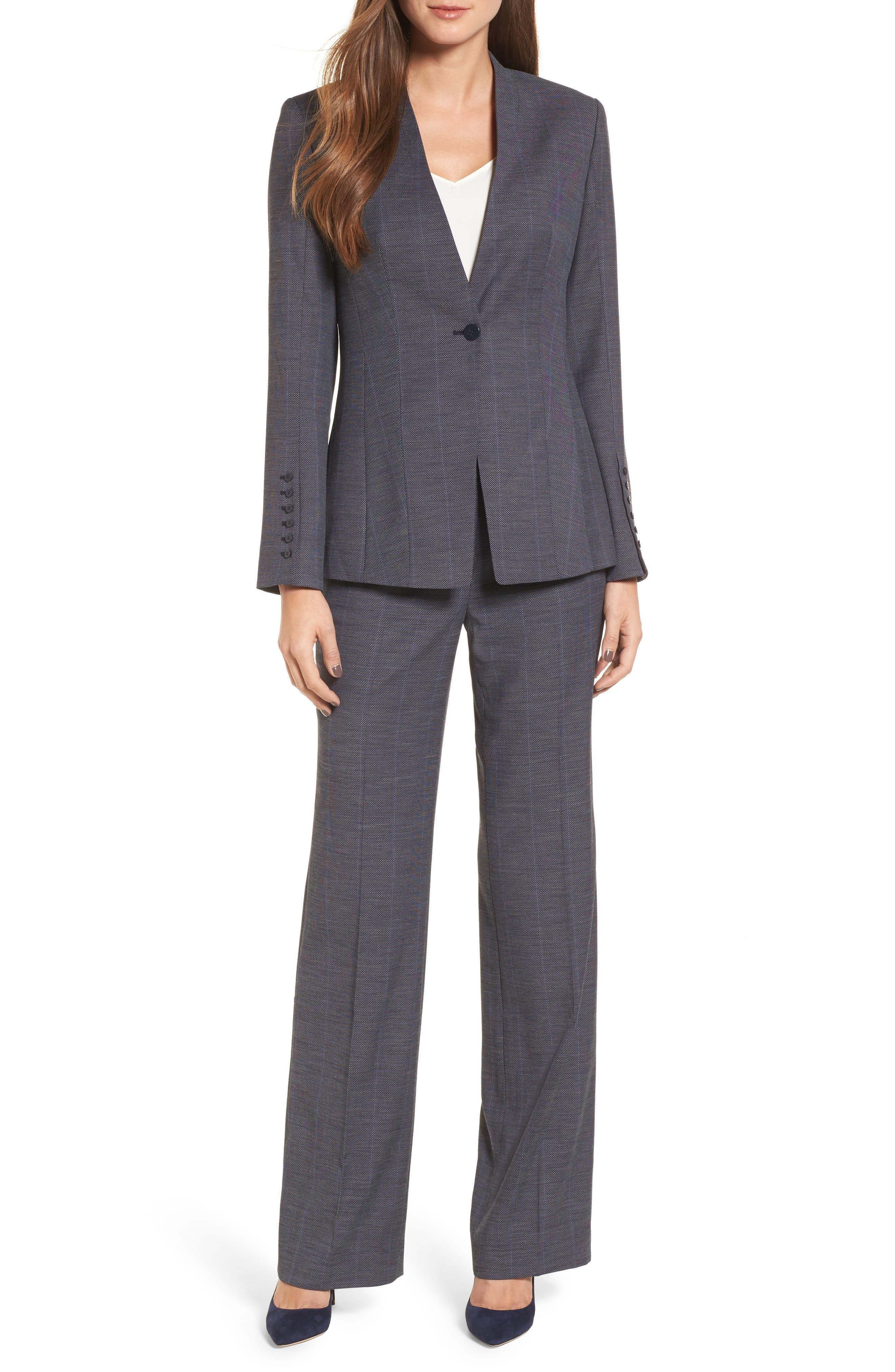 Cross Dye Suit Pants,                             Alternate thumbnail 6, color,                             Navy Crossdye Pattern