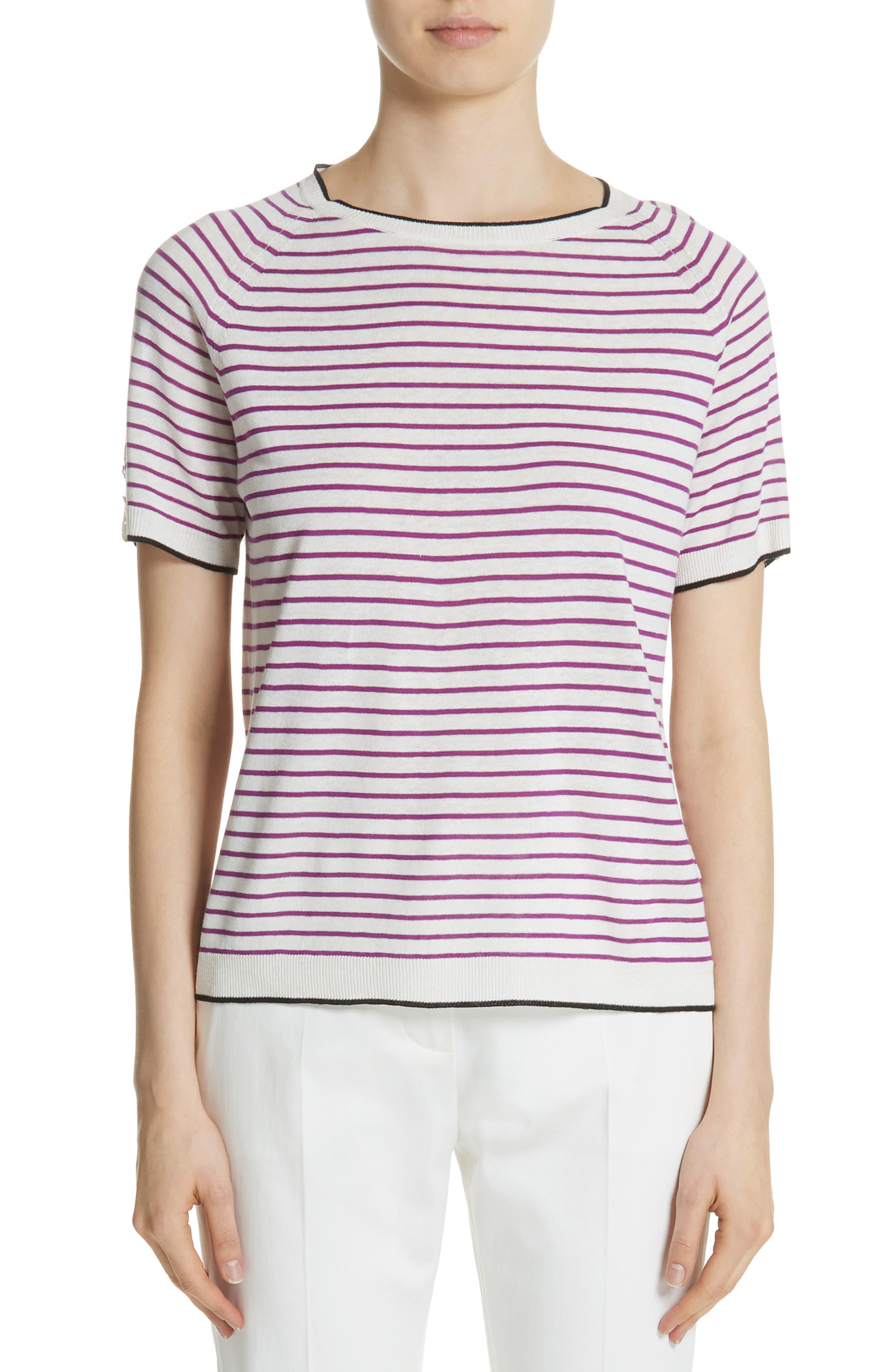 Max Mara Zama Stripe Silk & Linen Top