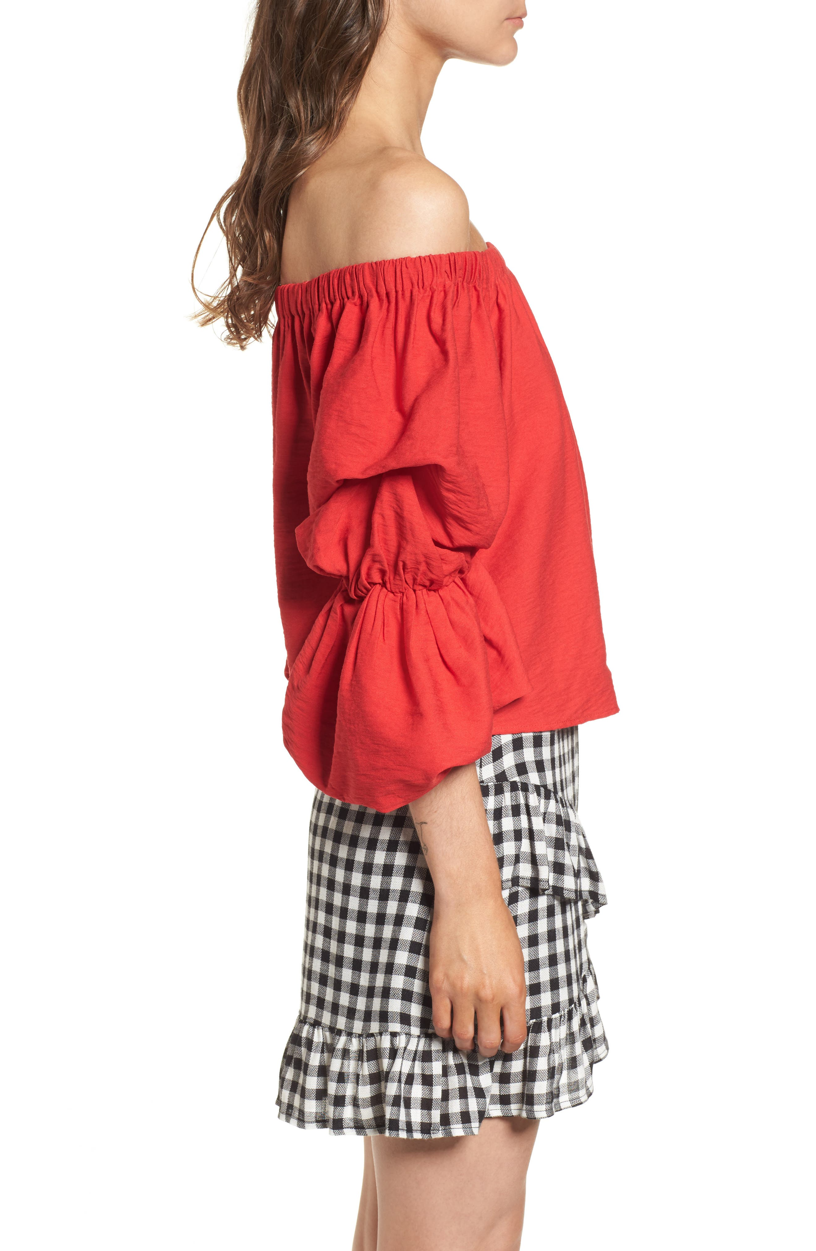 Puff Sleeve Off the Shoulder Top,                             Alternate thumbnail 3, color,                             Red