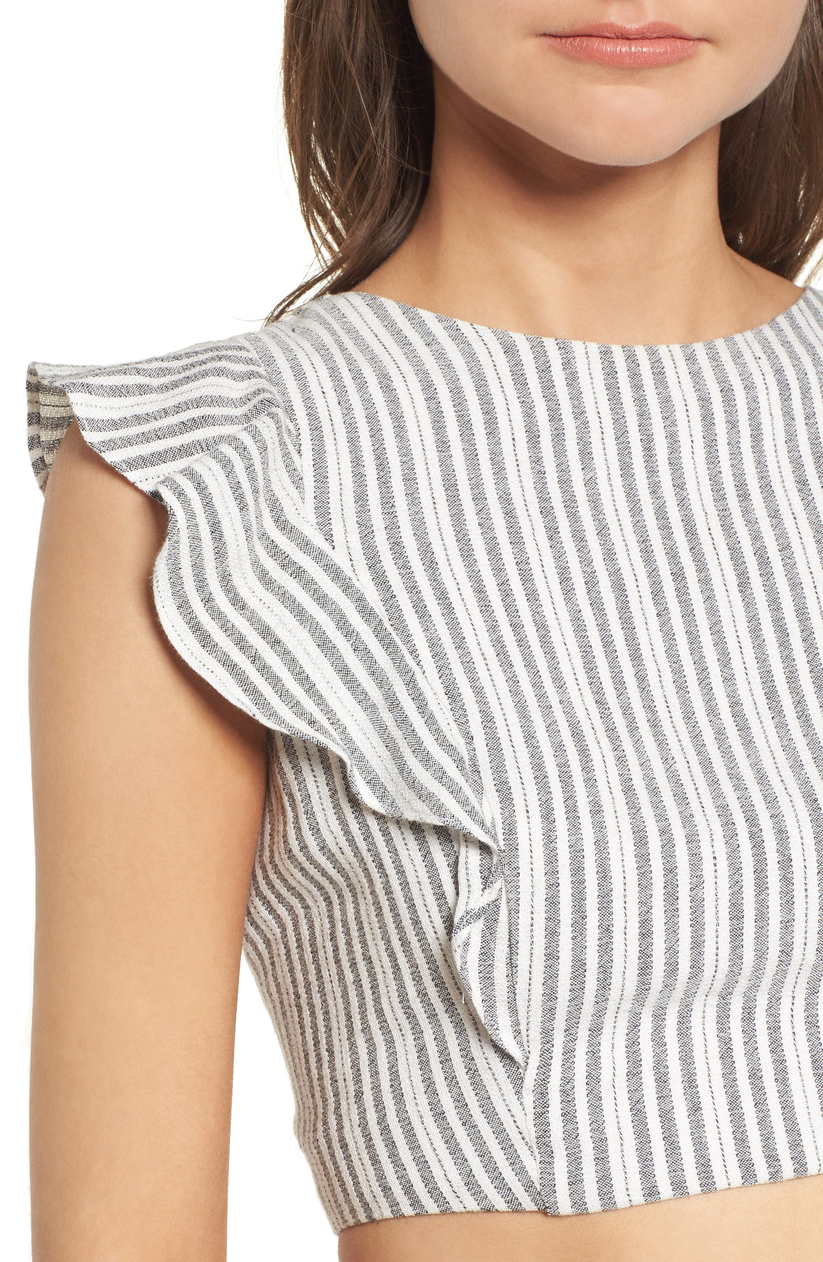 Vacay Flutter Sleeve Crop Top,                             Alternate thumbnail 6, color,                             Grey