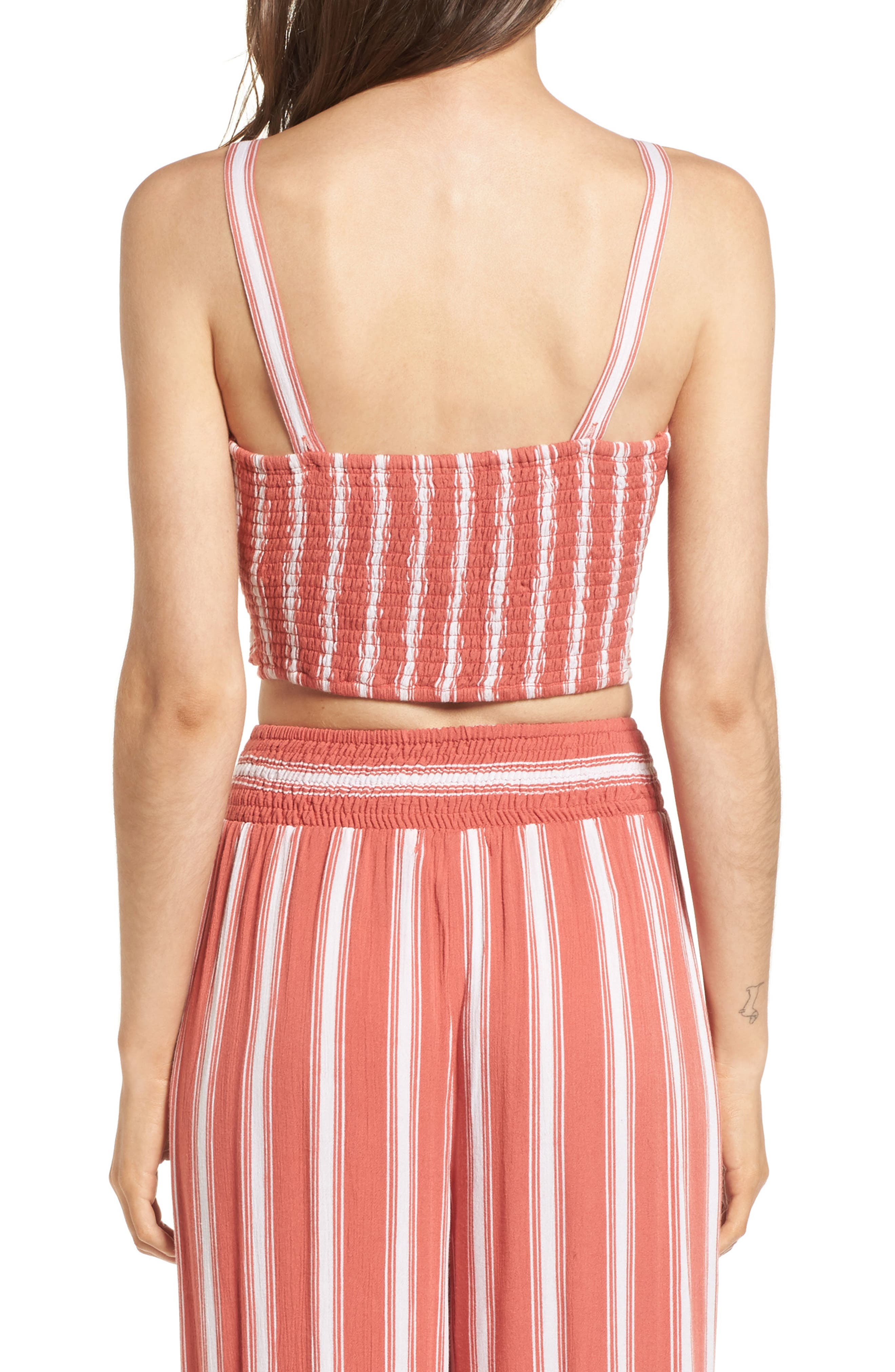 Stripe Smocked Crop Top,                             Alternate thumbnail 3, color,                             Dusty Coral/ Ivory