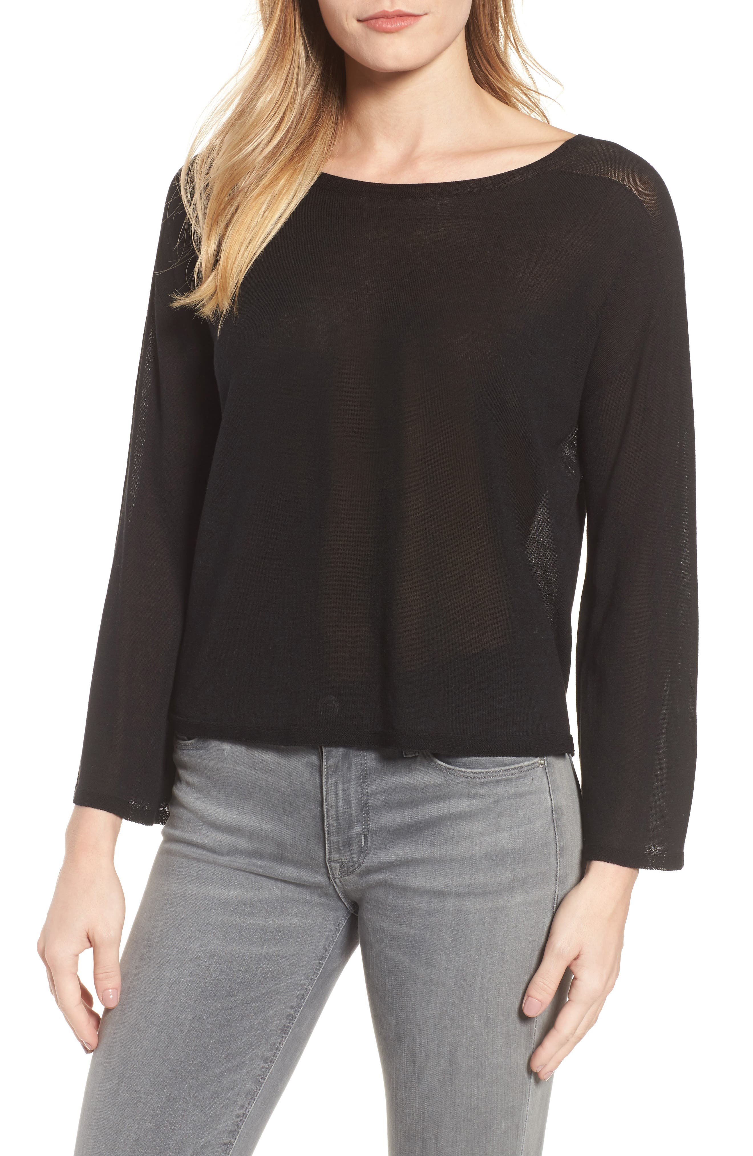 Tencel<sup>®</sup> Lyocell Knit Sweater,                             Main thumbnail 1, color,                             Black