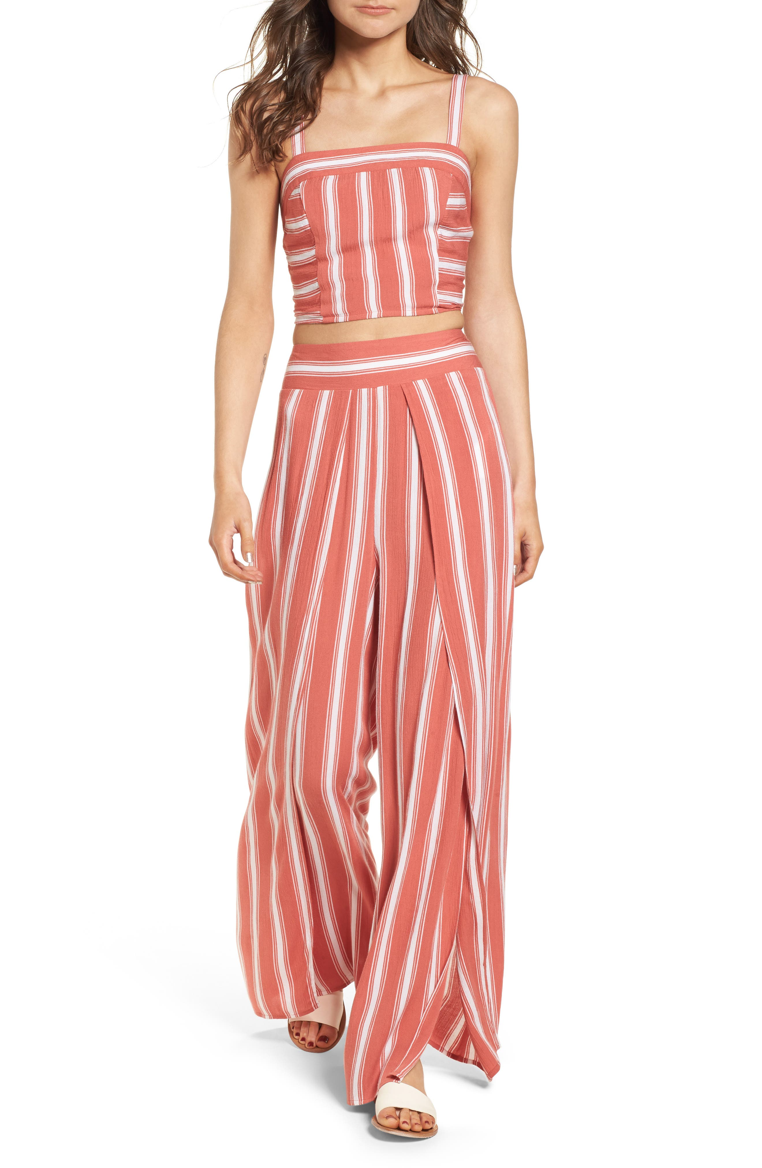 Alternate Image 2  - Band of Gypsies Stripe Split Leg Walkthrough Pants