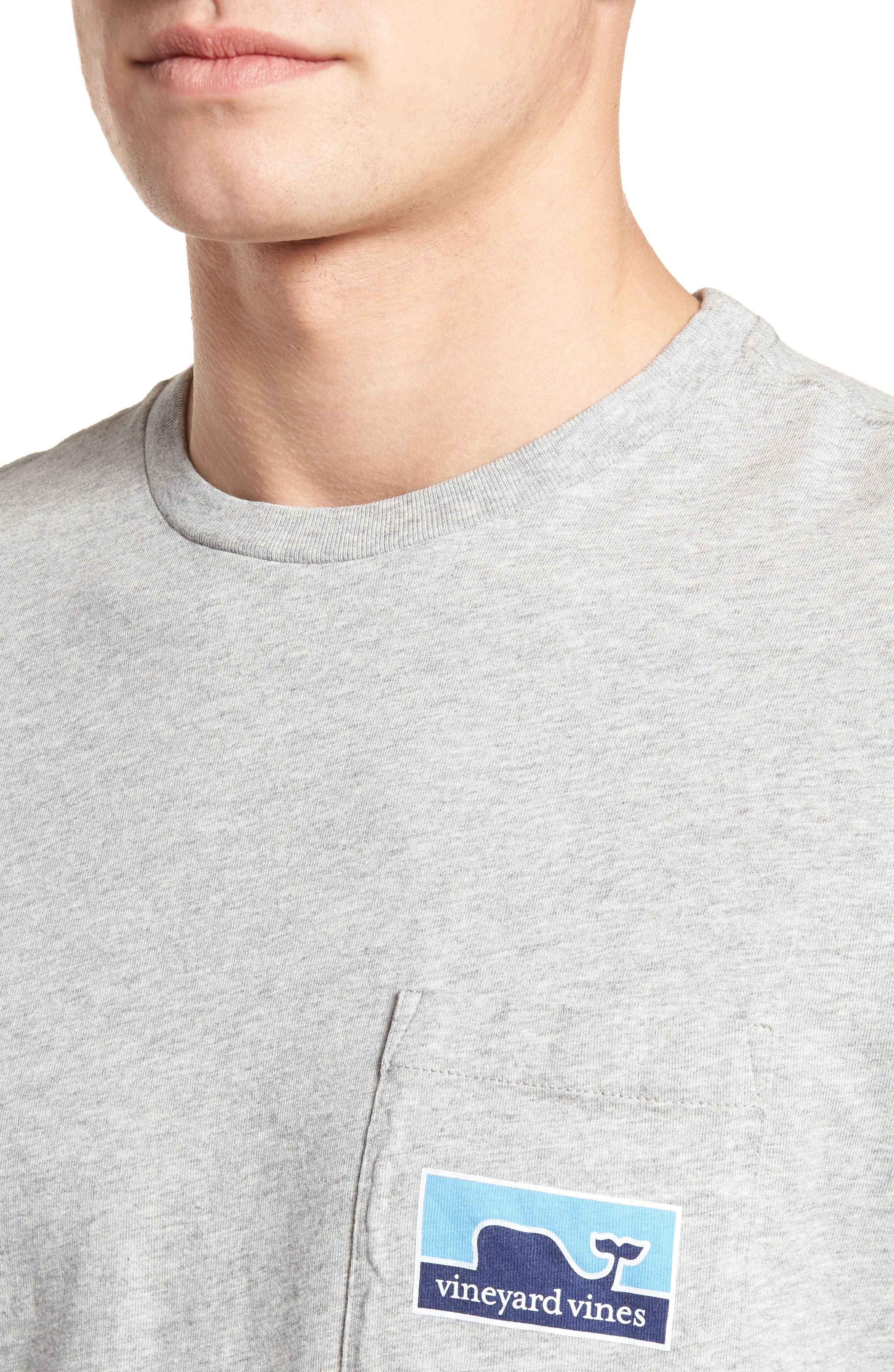 Whaleline Graphic Pocket T-Shirt,                             Alternate thumbnail 4, color,                             Grey Heather