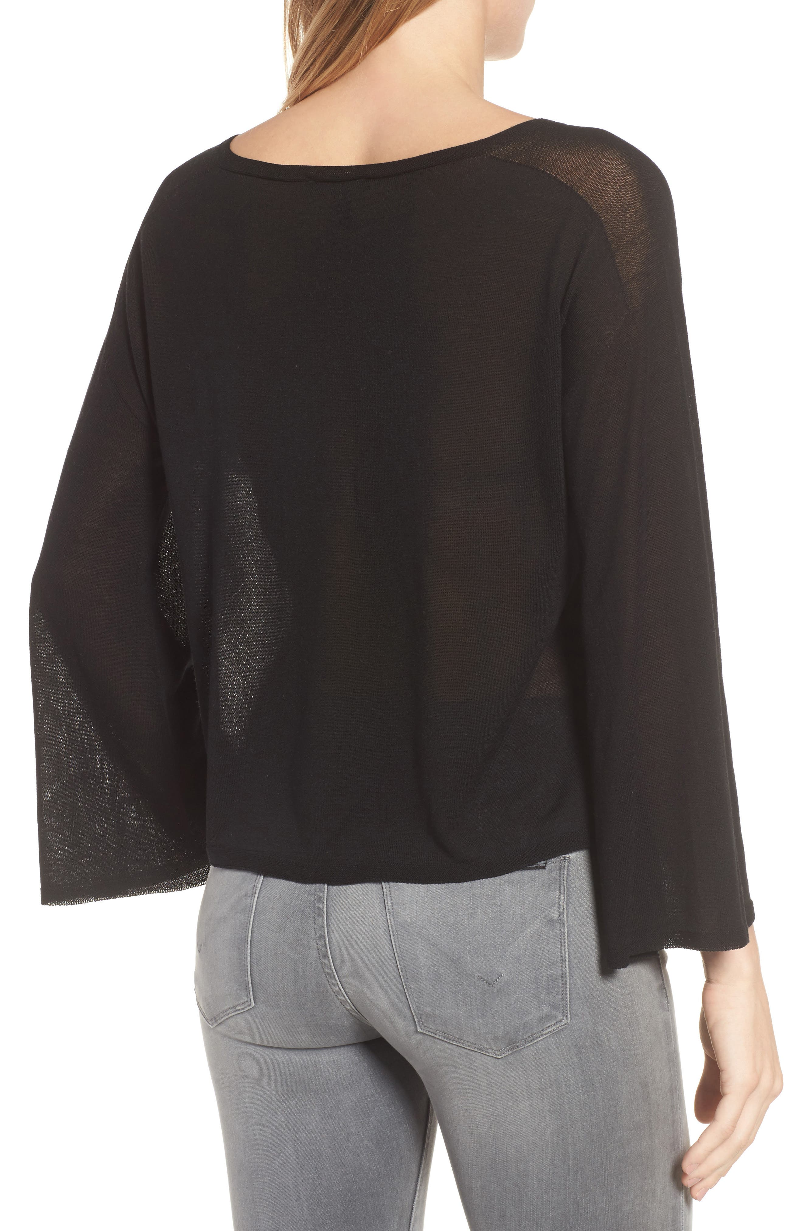 Tencel<sup>®</sup> Lyocell Knit Sweater,                             Alternate thumbnail 2, color,                             Black