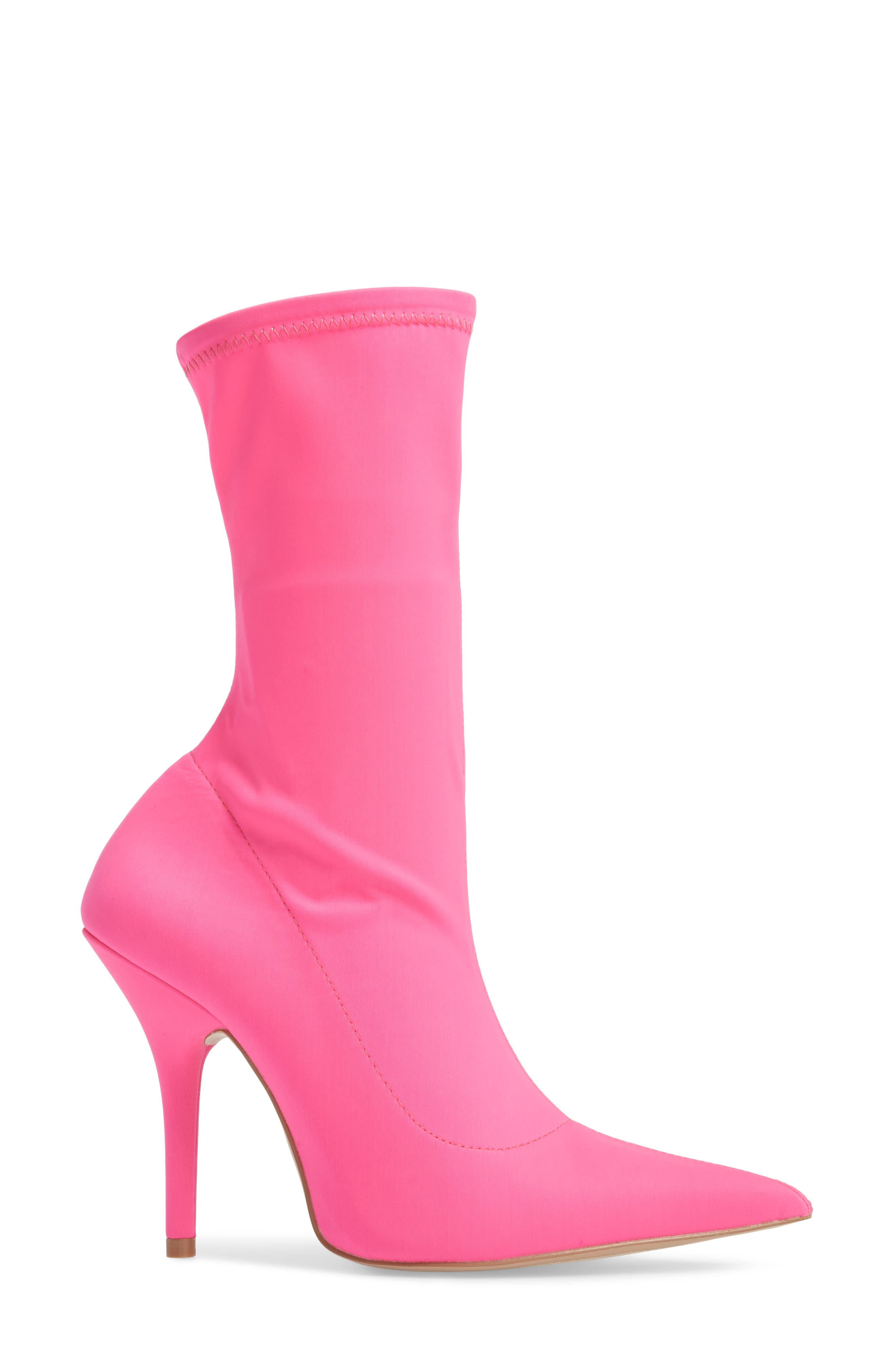 Mimi Stretch Bootie,                             Alternate thumbnail 3, color,                             Pink Faux Leather