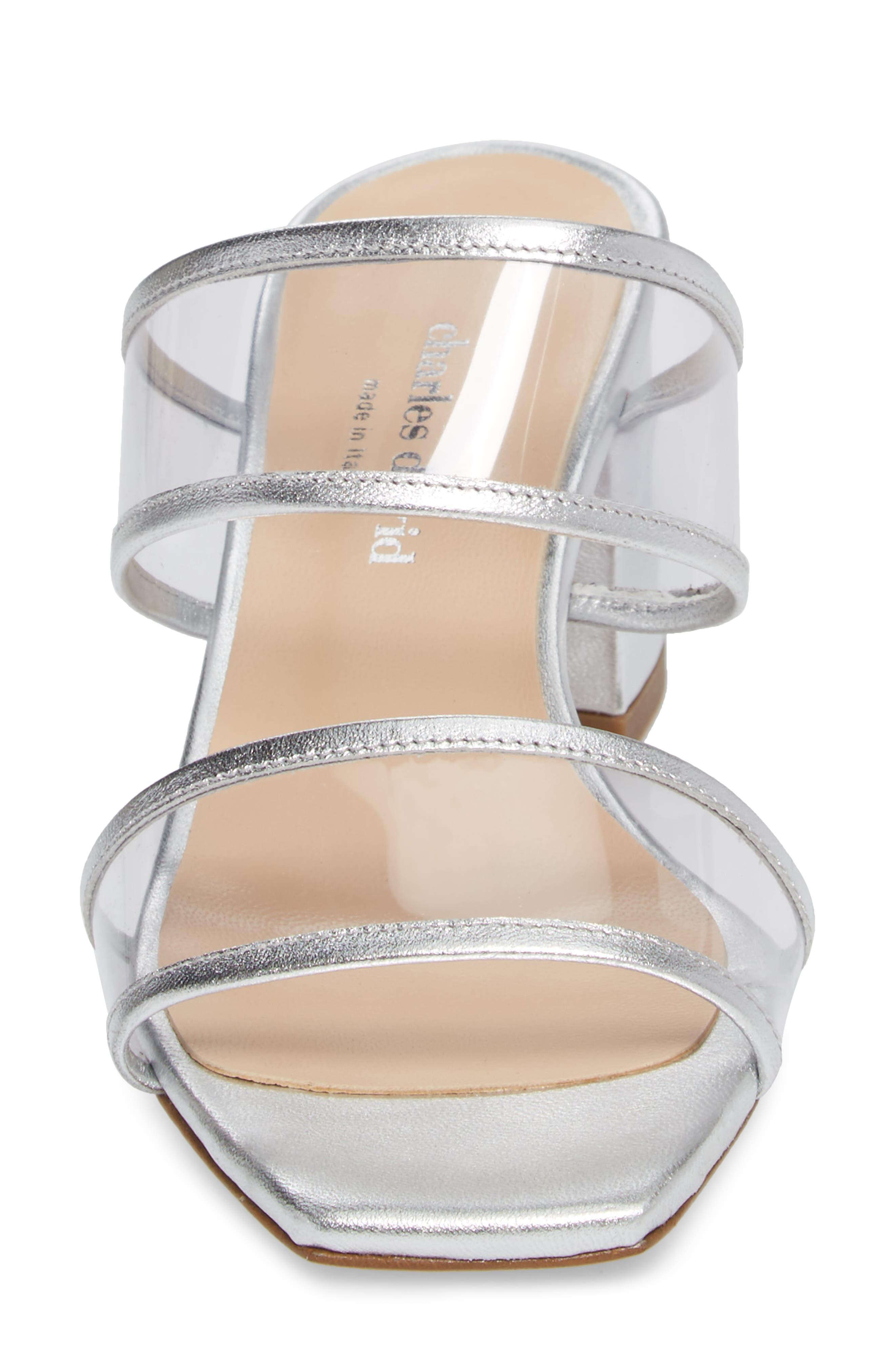 Cally Transparent Strap Slide Sandal,                             Alternate thumbnail 4, color,                             Silver