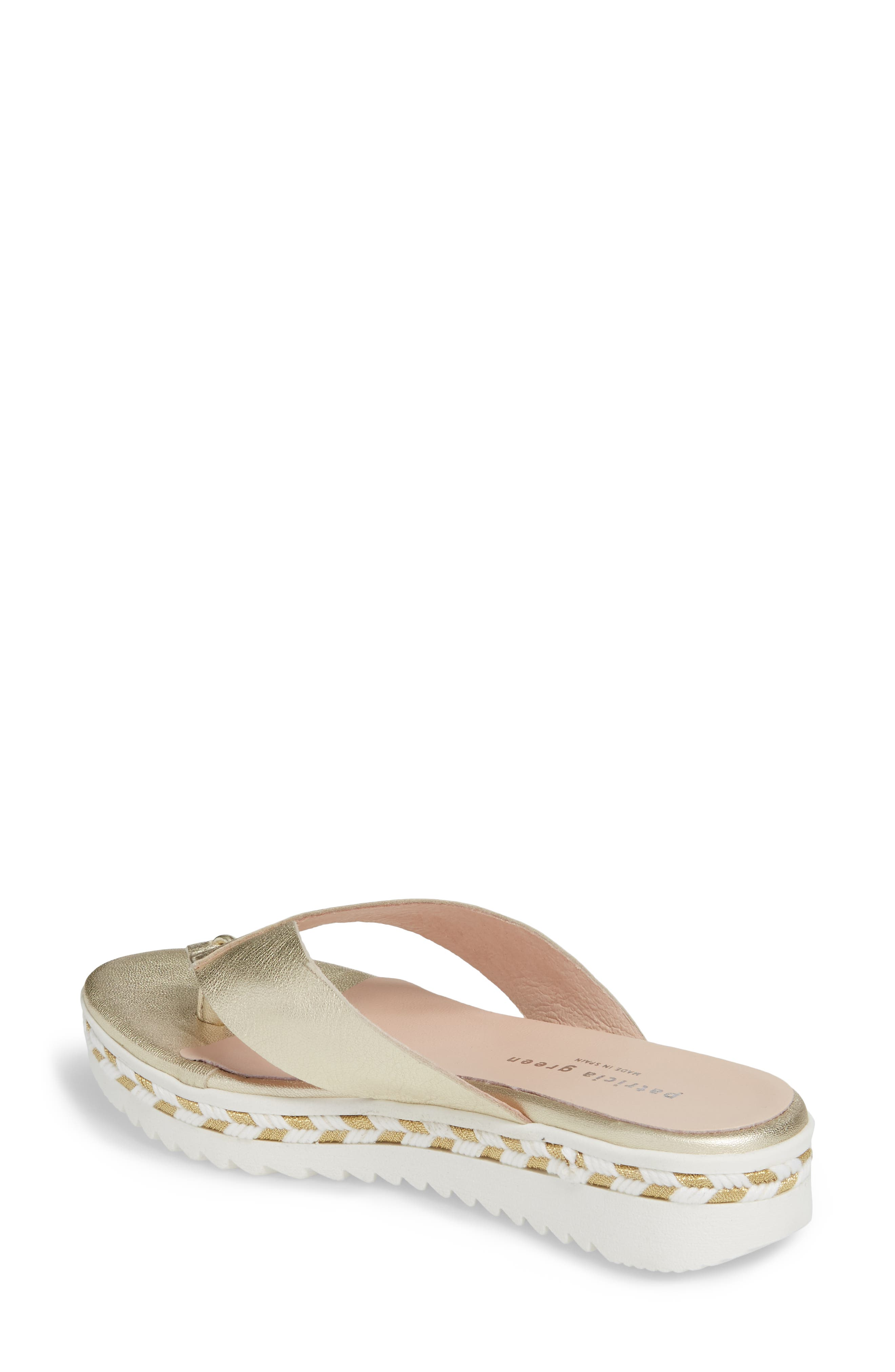 Brooklyn Wedge Flip Flop,                             Alternate thumbnail 2, color,                             Gold Leather
