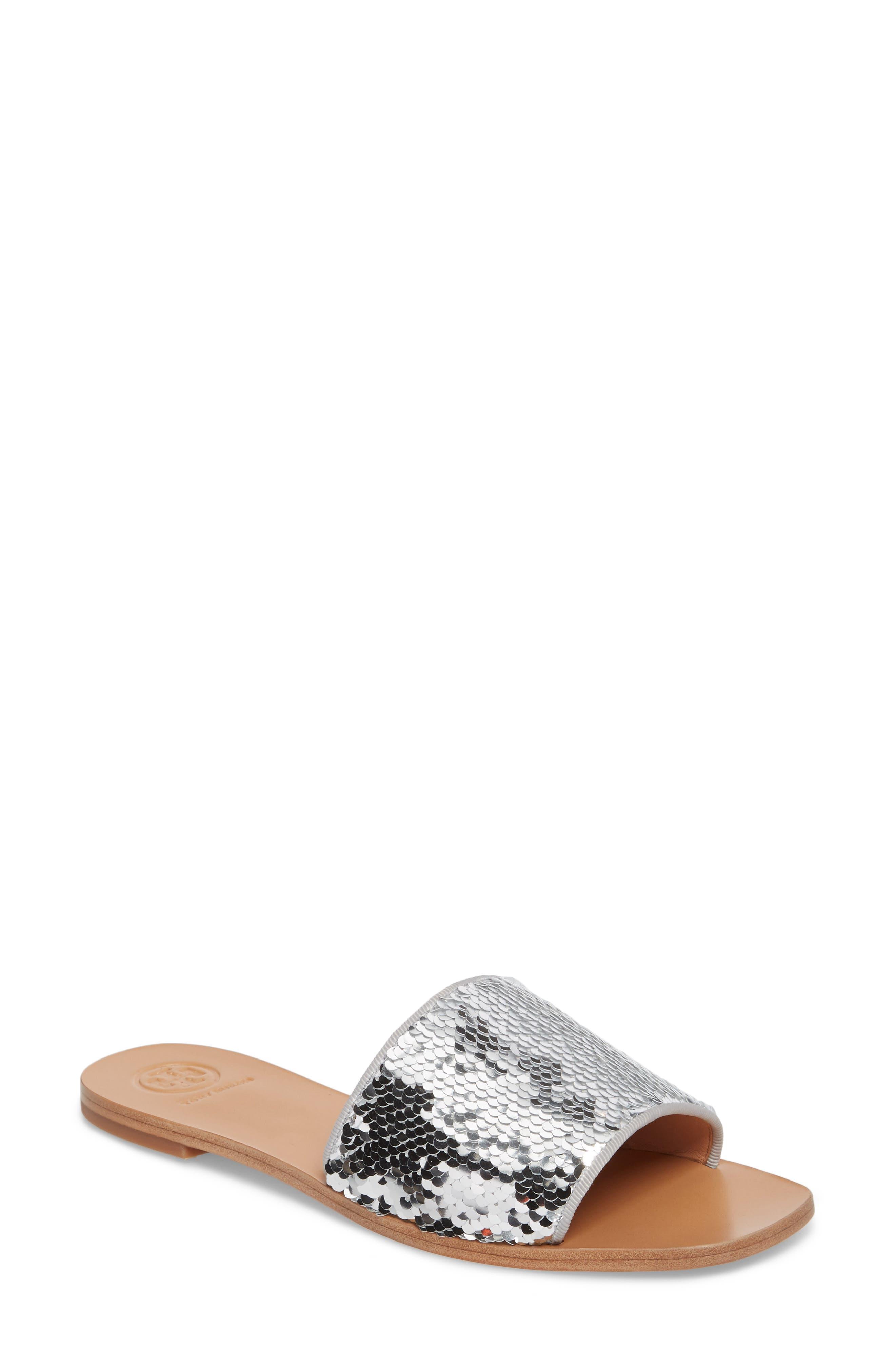 Carter Sequin Slide Sandal,                             Main thumbnail 1, color,                             Silver/ Perfect White