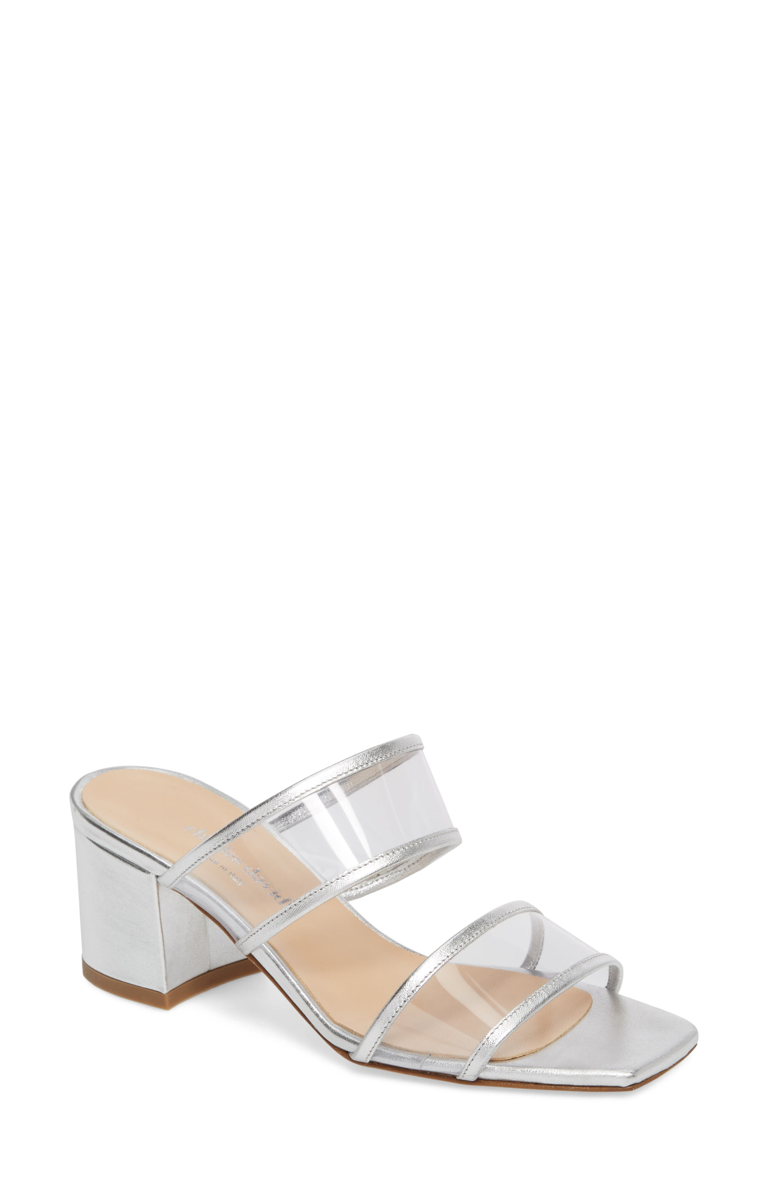 Cally Transparent Strap Slide Sandal,                         Main,                         color, Silver