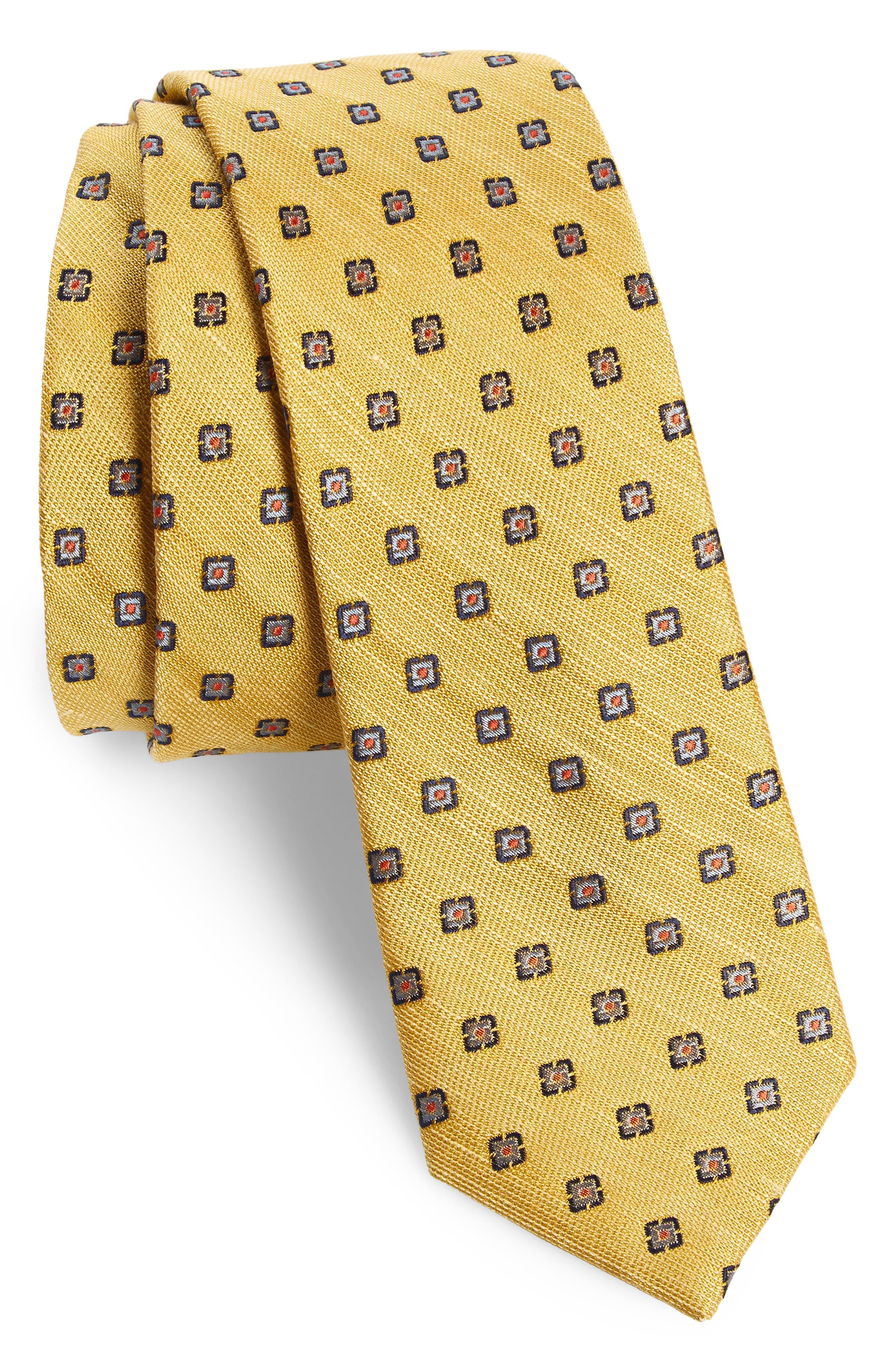 The Tie Bar Medallion Scene Silk & Linen Skinny Tie
