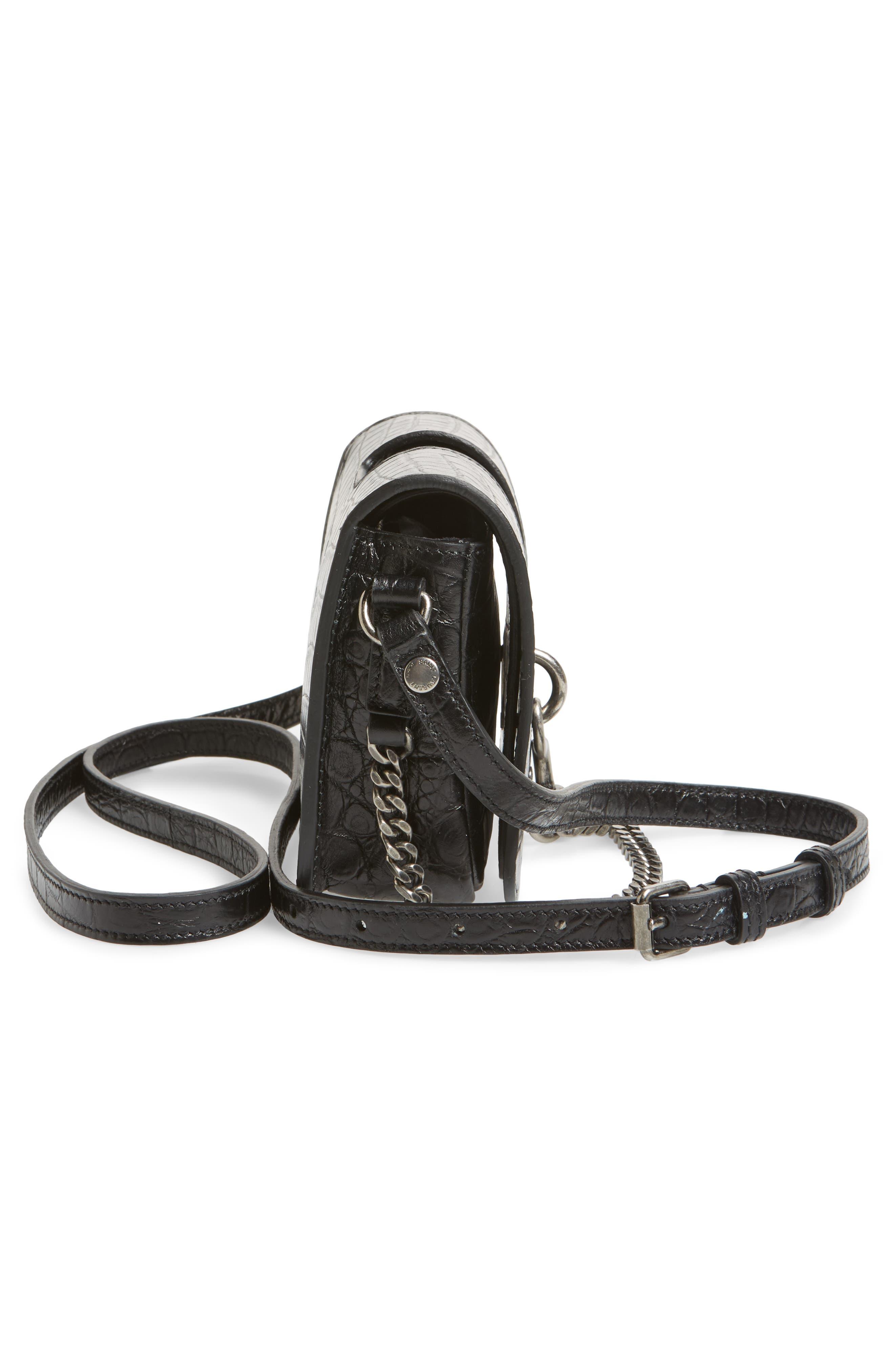 Croc Embossed Leather Crossbody Bag,                             Alternate thumbnail 5, color,                             Noir
