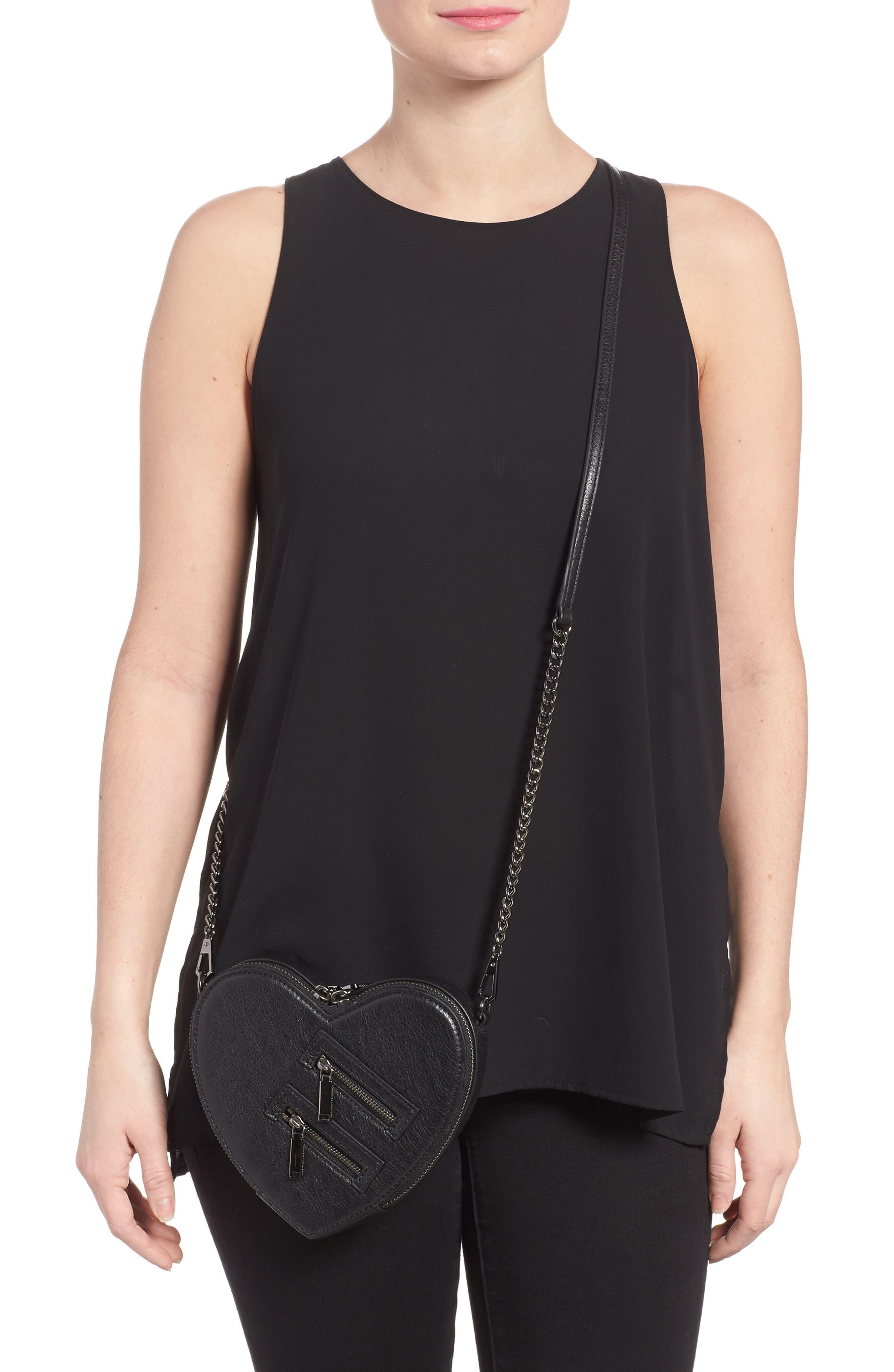 Jamie Heart Leather Crossbody Bag,                             Alternate thumbnail 2, color,                             Black
