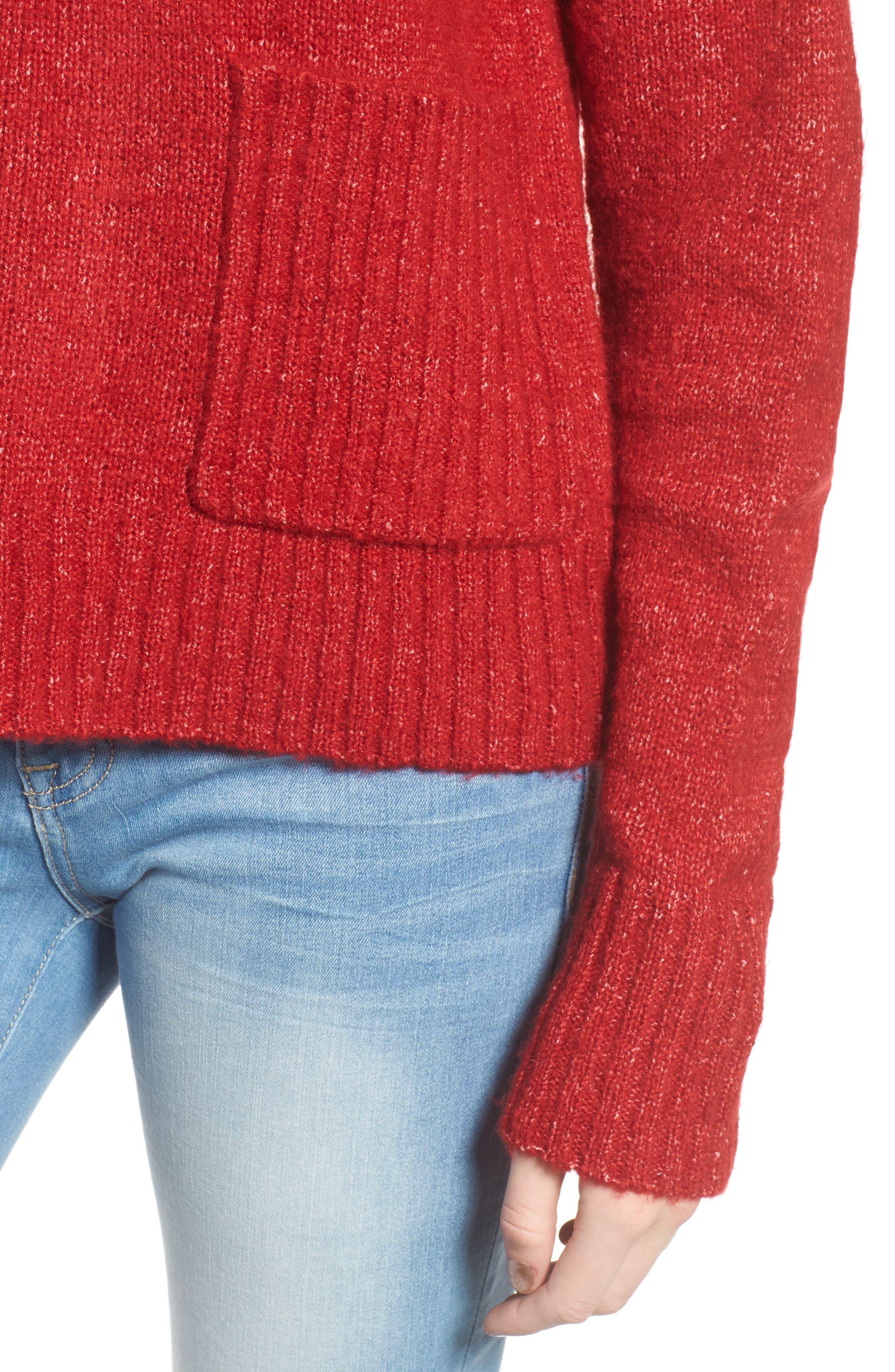 Mock Neck Patch Pocket Pullover,                             Alternate thumbnail 4, color,                             Red