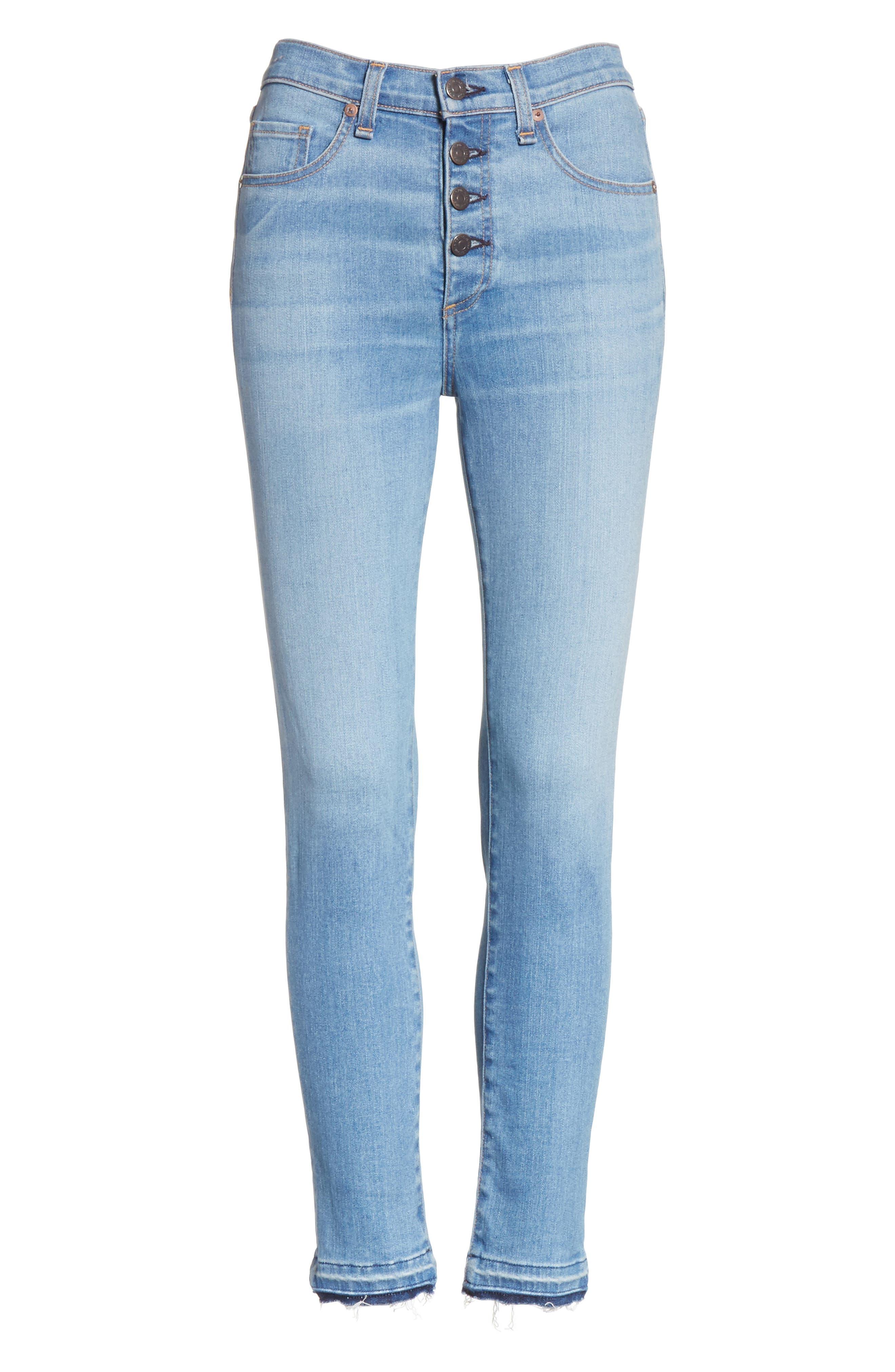 Debbie Frayed Crop Skinny Jeans,                             Alternate thumbnail 6, color,                             Ocean Blue