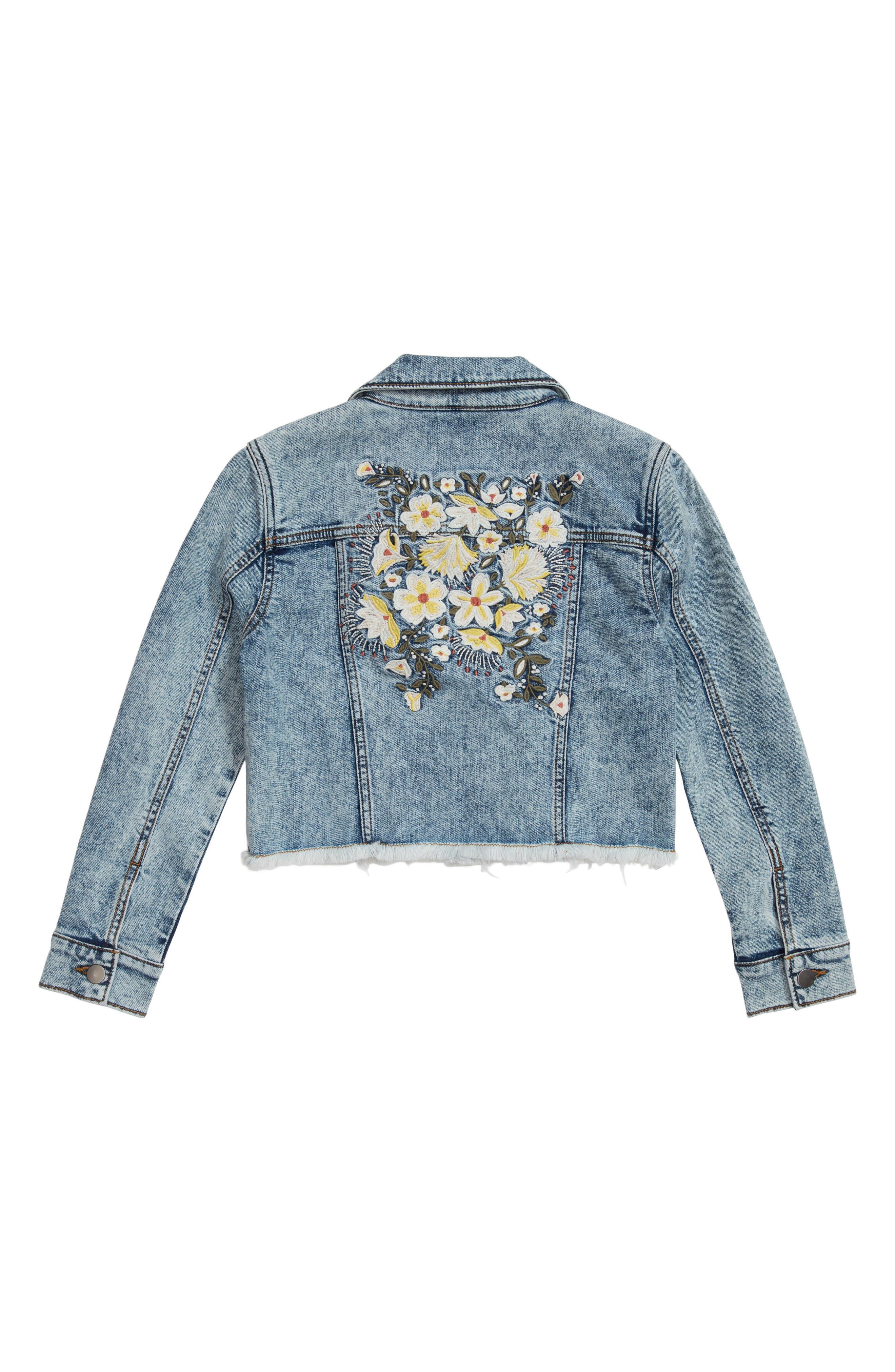 Embroidered Crop Denim Jacket,                             Alternate thumbnail 2, color,                             Stone Cold Wash