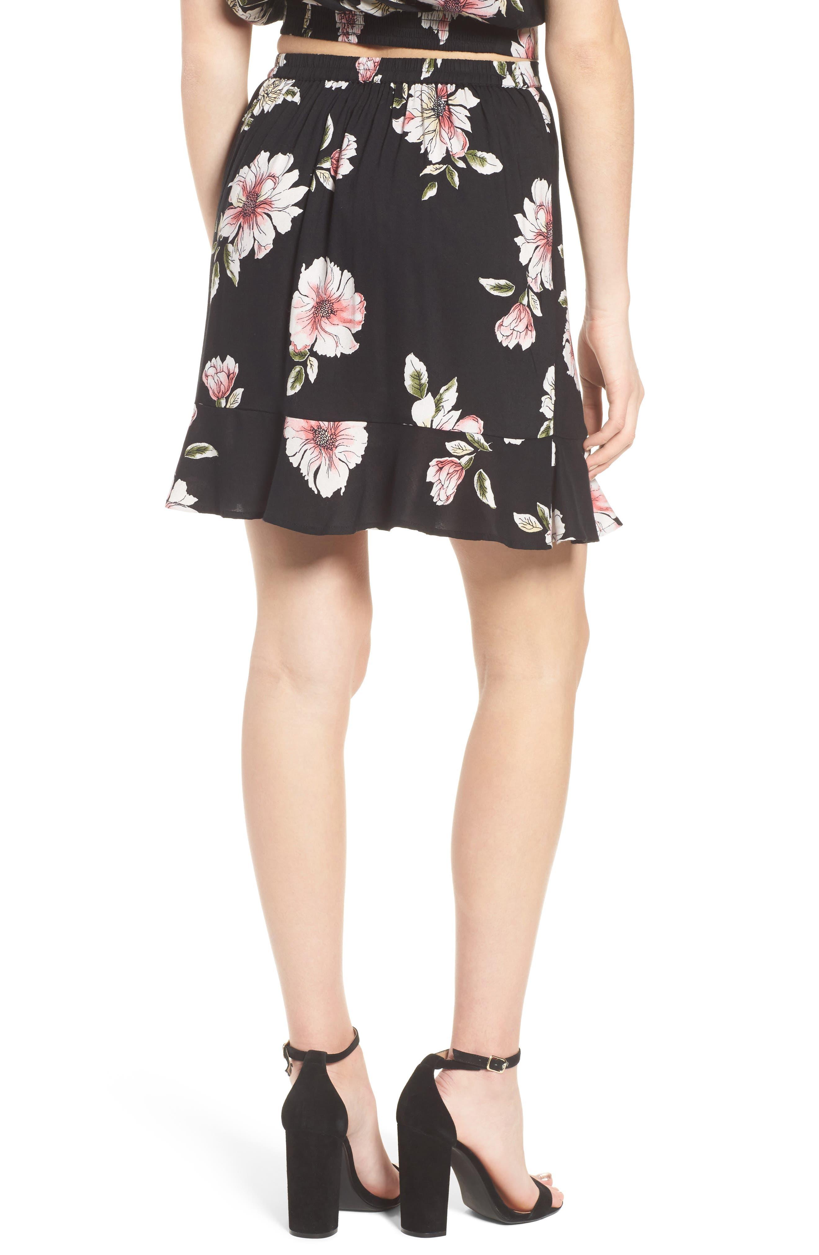 Hibiscus Faux Wrap Mini Skirt,                             Alternate thumbnail 3, color,                             Black/ Dusty Coral