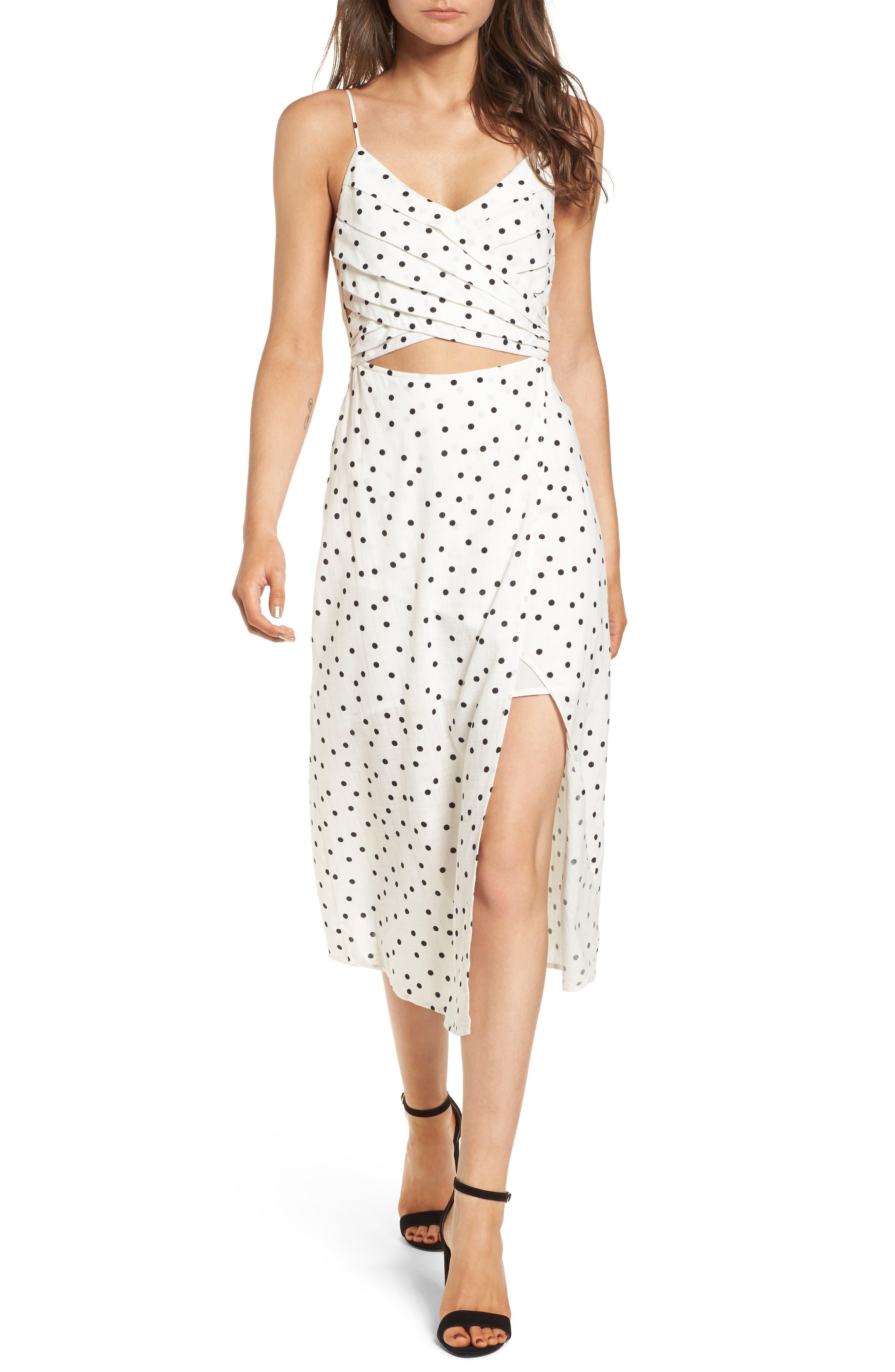 Cutout Midi Dress,                             Main thumbnail 1, color,                             Ivory/ Black Dot