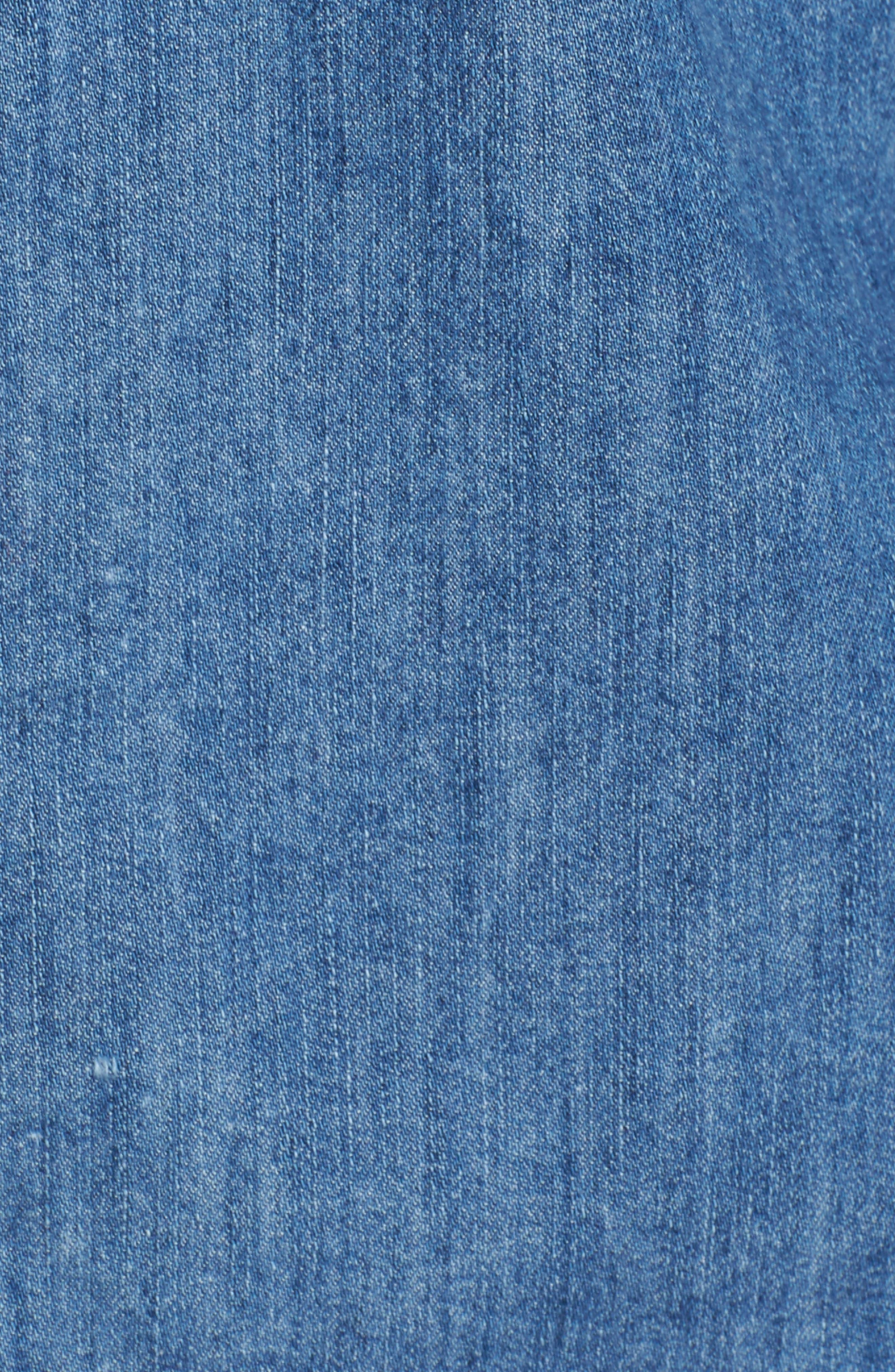 Slim Fit Paint Splatter Denim Sport Shirt,                             Alternate thumbnail 5, color,                             Denim