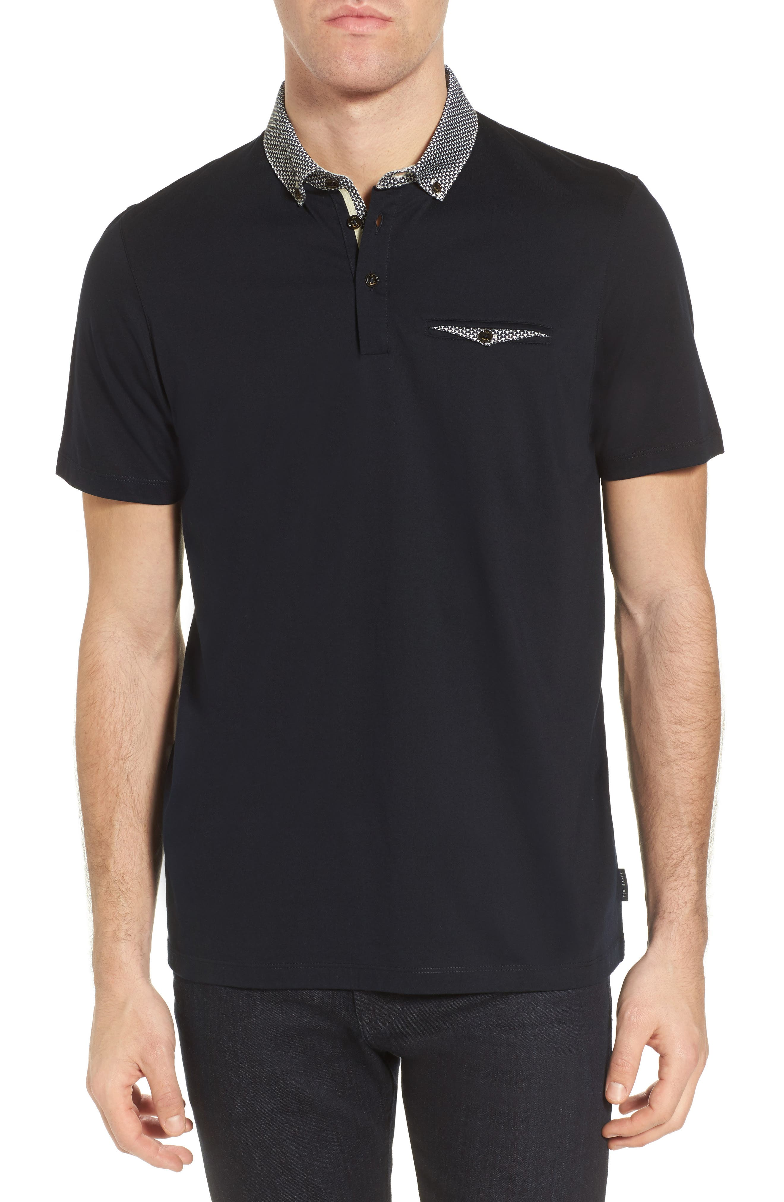 Movey Trim Fit Woven Geo Polo,                             Main thumbnail 1, color,                             Navy