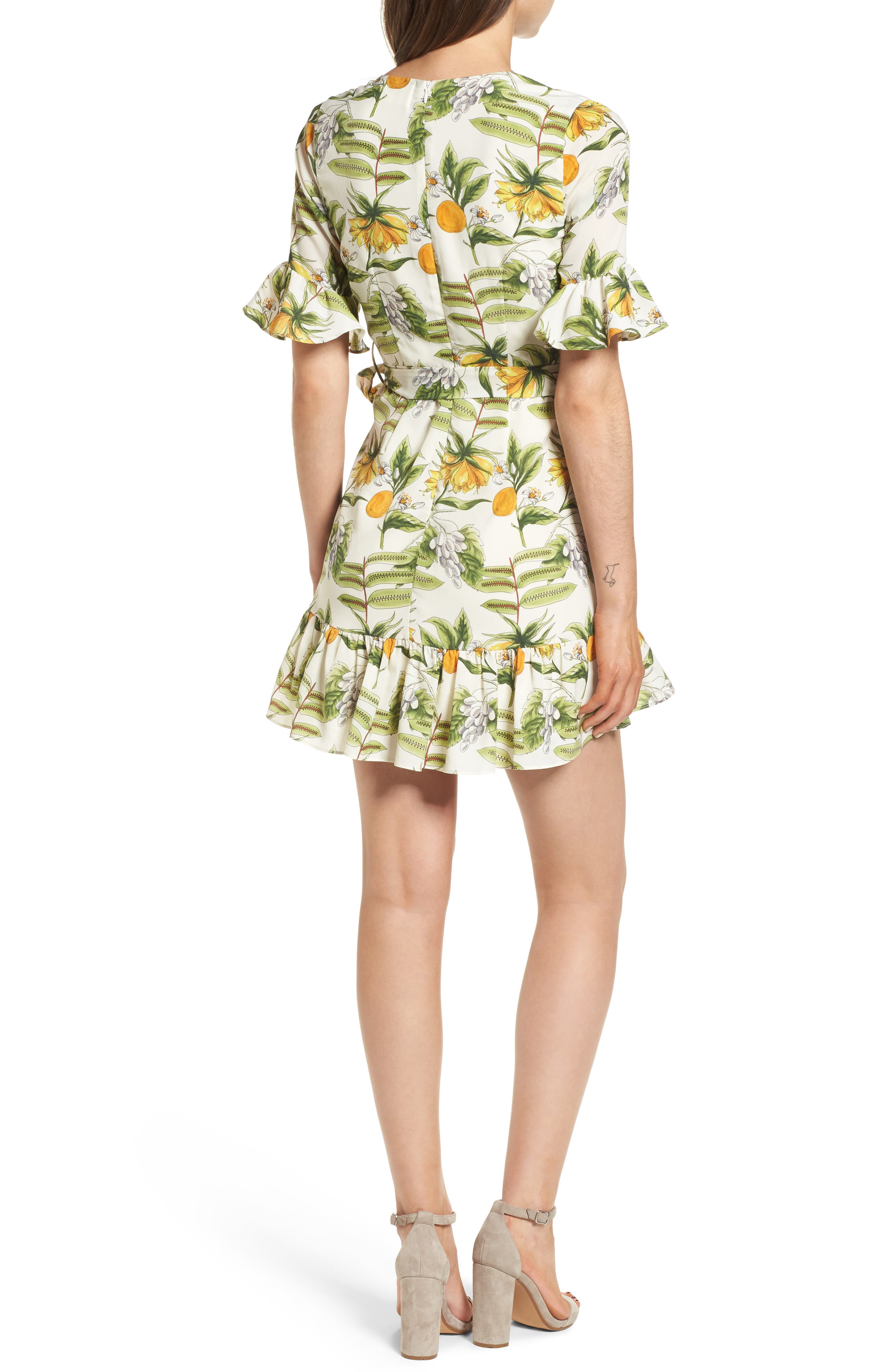Limonada Citrus Dress,                             Alternate thumbnail 3, color,                             Ivory/ Yellow