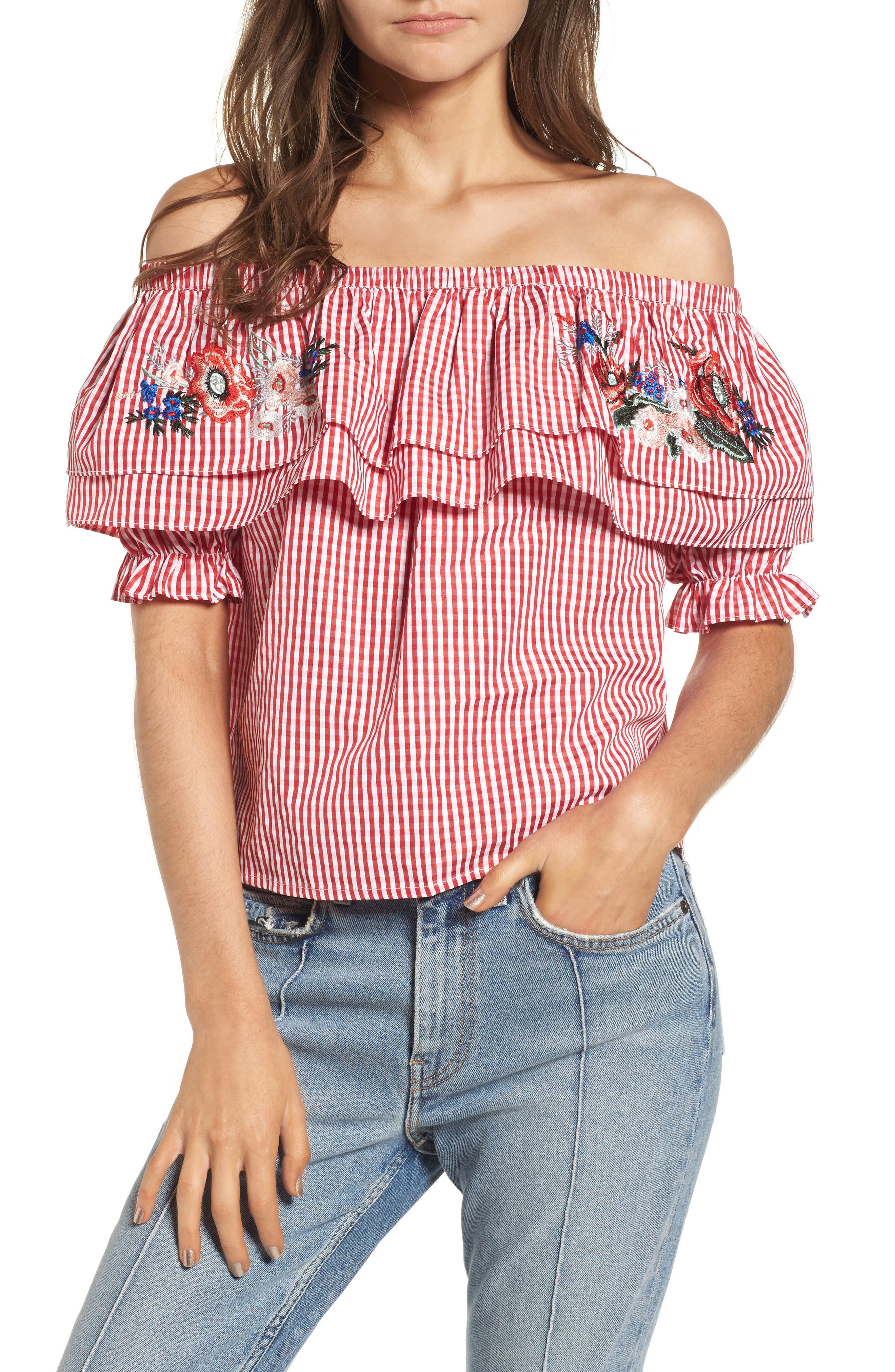 Embroidered Gingham Off the Shoulder Top,                             Main thumbnail 1, color,                             Red Gingham