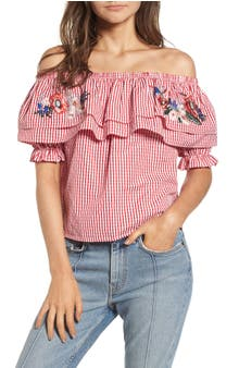 Lost + Wander Embroidered Gingham Off the Shoulder Top (Nordstrom Exclusive)
