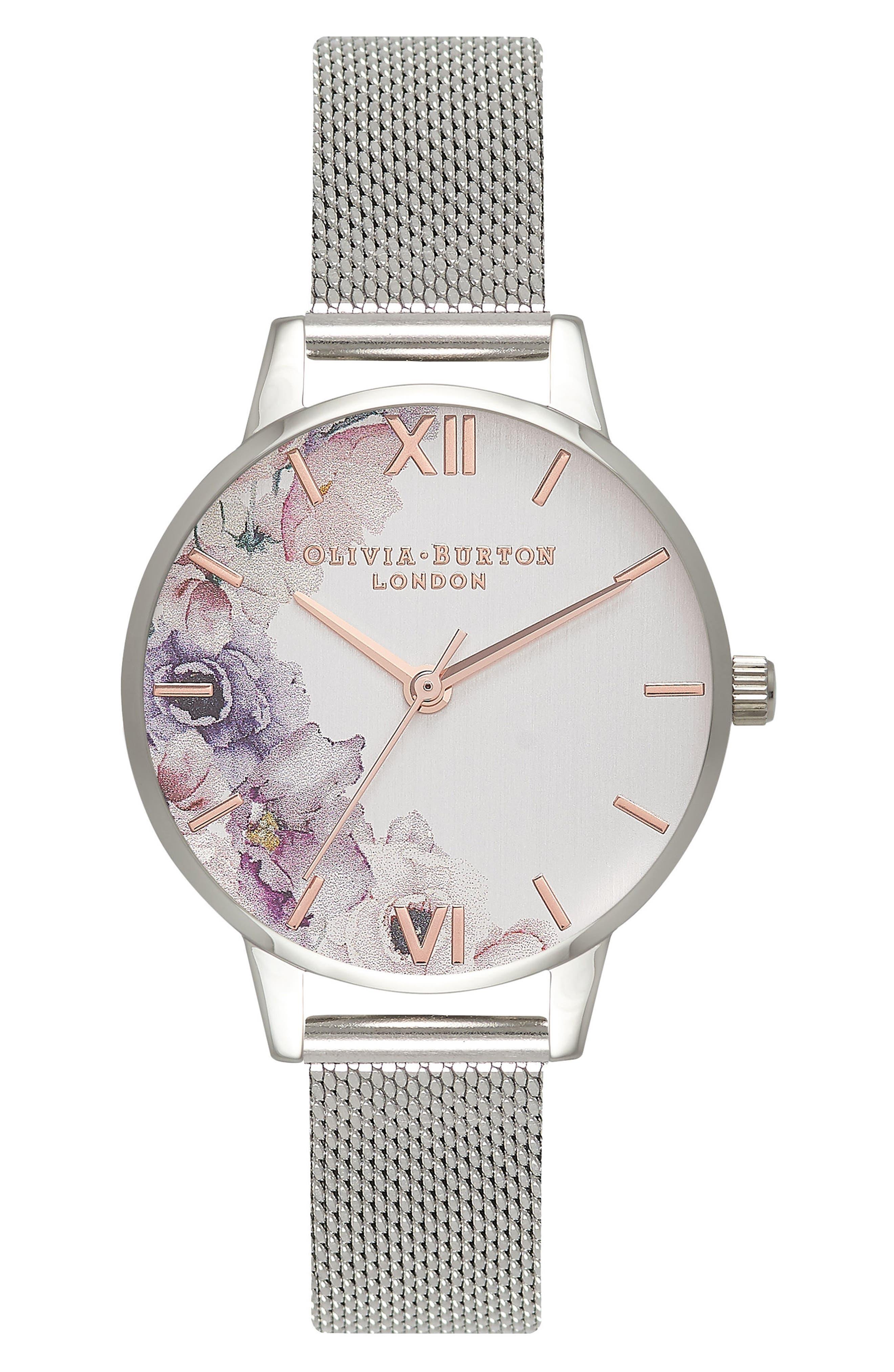 Watercolour Florals Mesh Strap Watch, 30mm,                         Main,                         color, Silver