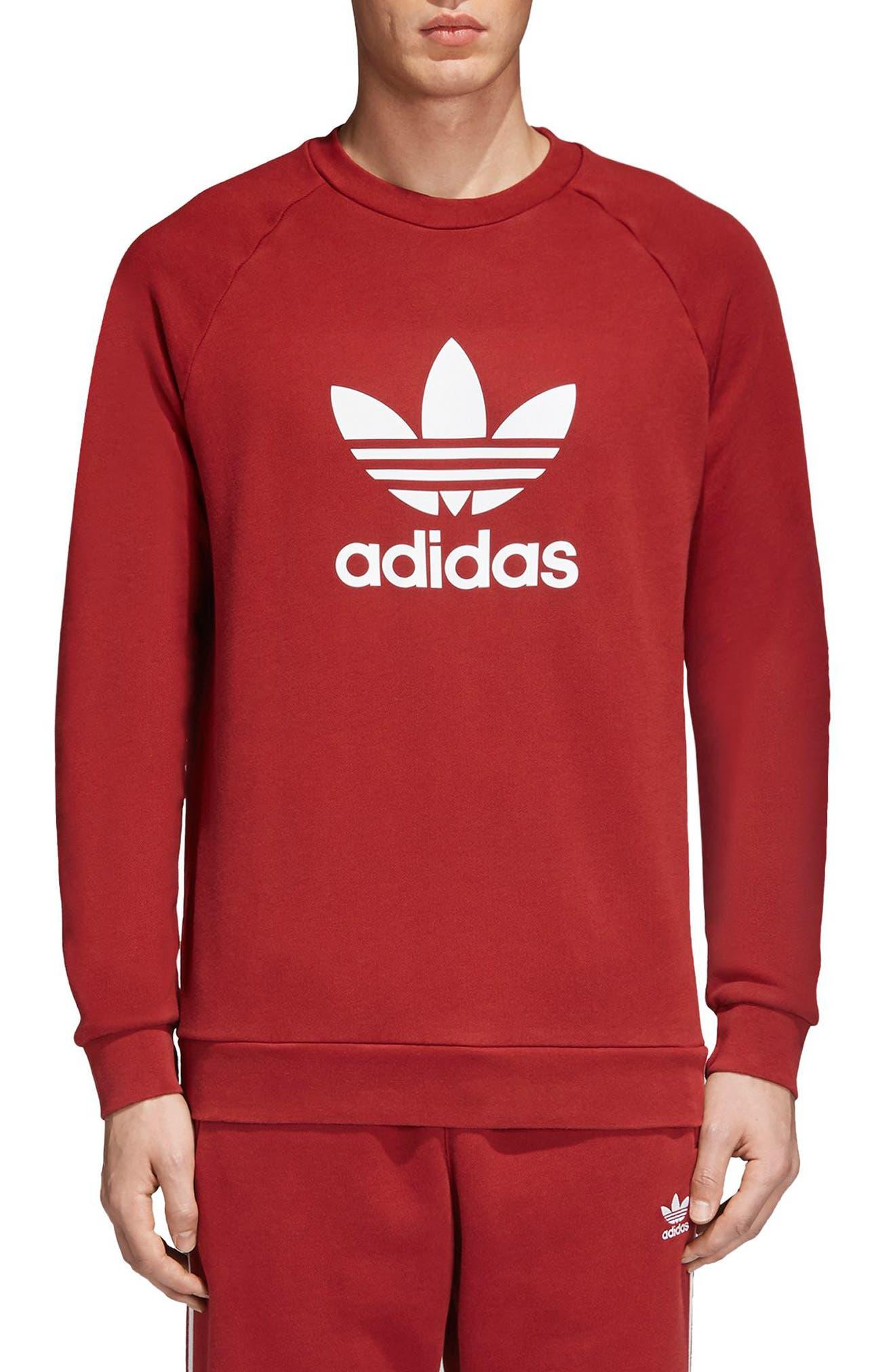 adidas Trefoil Crewneck Sweatshirt,                             Main thumbnail 1, color,                             Rusred