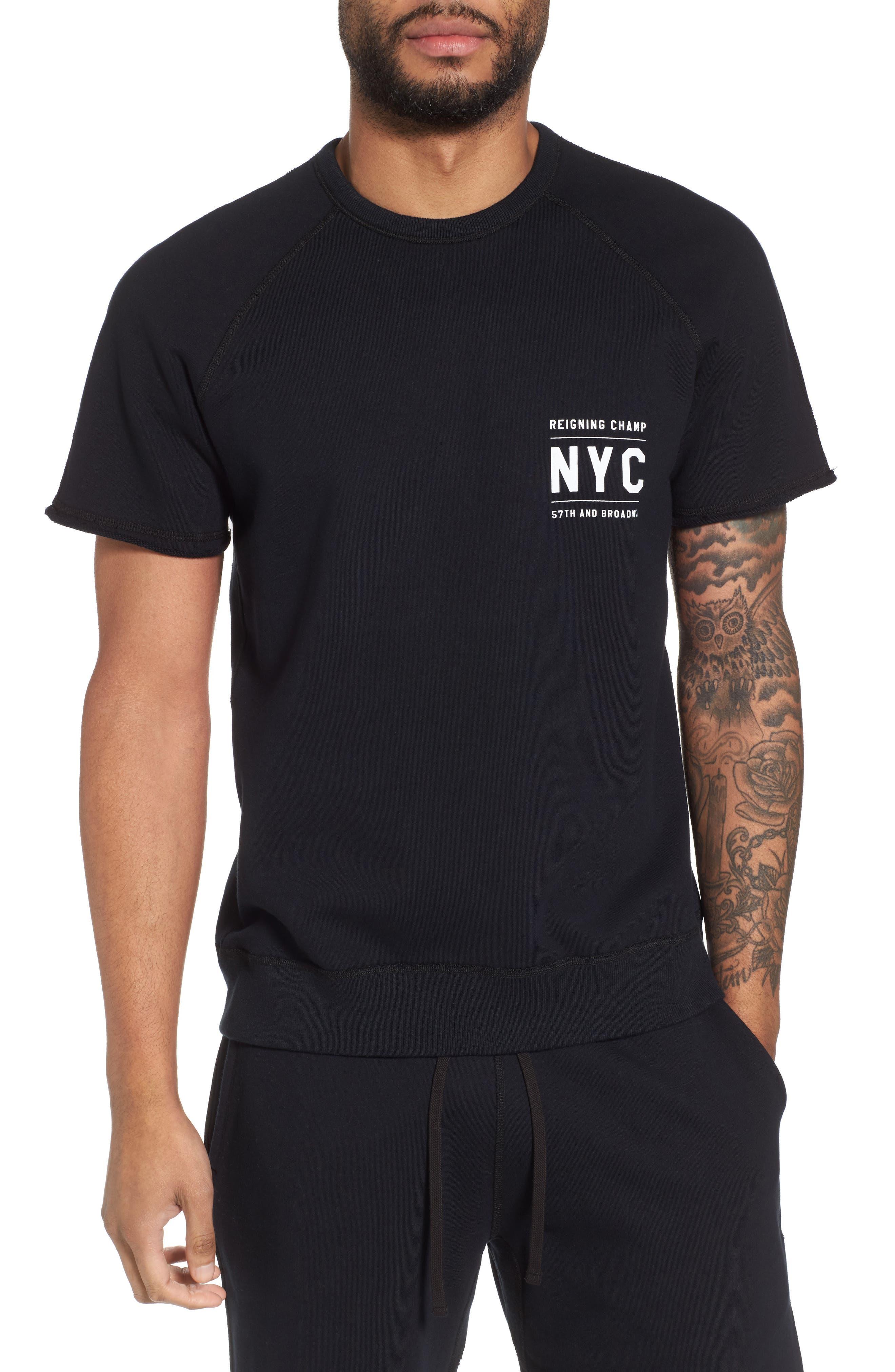 Cutoff Short Sleeve Sweatshirt,                             Main thumbnail 1, color,                             Black